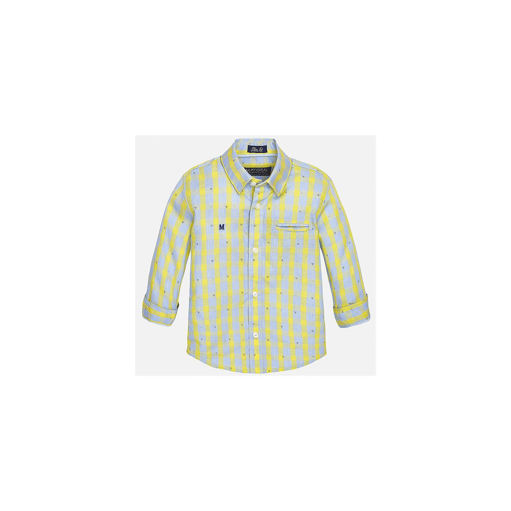 Рубашка для мальчика MayoralБлузки и рубашки<br>Характеристики товара:<br><br>• цвет: жёлтый<br>• состав: 100% хлопок<br>• отложной воротник<br>• в клетку<br>• застежка: пуговицы<br>• рукава с отворотами<br>• вышивка и карман на груди<br>• страна бренда: Испания<br><br>Стильная рубашка для мальчика может стать базовой вещью в гардеробе ребенка. Она отлично сочетается с брюками, шортами, джинсами и т.д.  Практичное и стильное изделие! В составе материала - только натуральный хлопок, гипоаллергенный, приятный на ощупь, дышащий.<br><br>Рубашку для мальчика от испанского бренда Mayoral (Майорал) можно купить в нашем интернет-магазине.<br><br>Ширина мм: 174<br>Глубина мм: 10<br>Высота мм: 169<br>Вес г: 157<br>Цвет: желтый<br>Возраст от месяцев: 12<br>Возраст до месяцев: 15<br>Пол: Мужской<br>Возраст: Детский<br>Размер: 80,92,86<br>SKU: 5279481