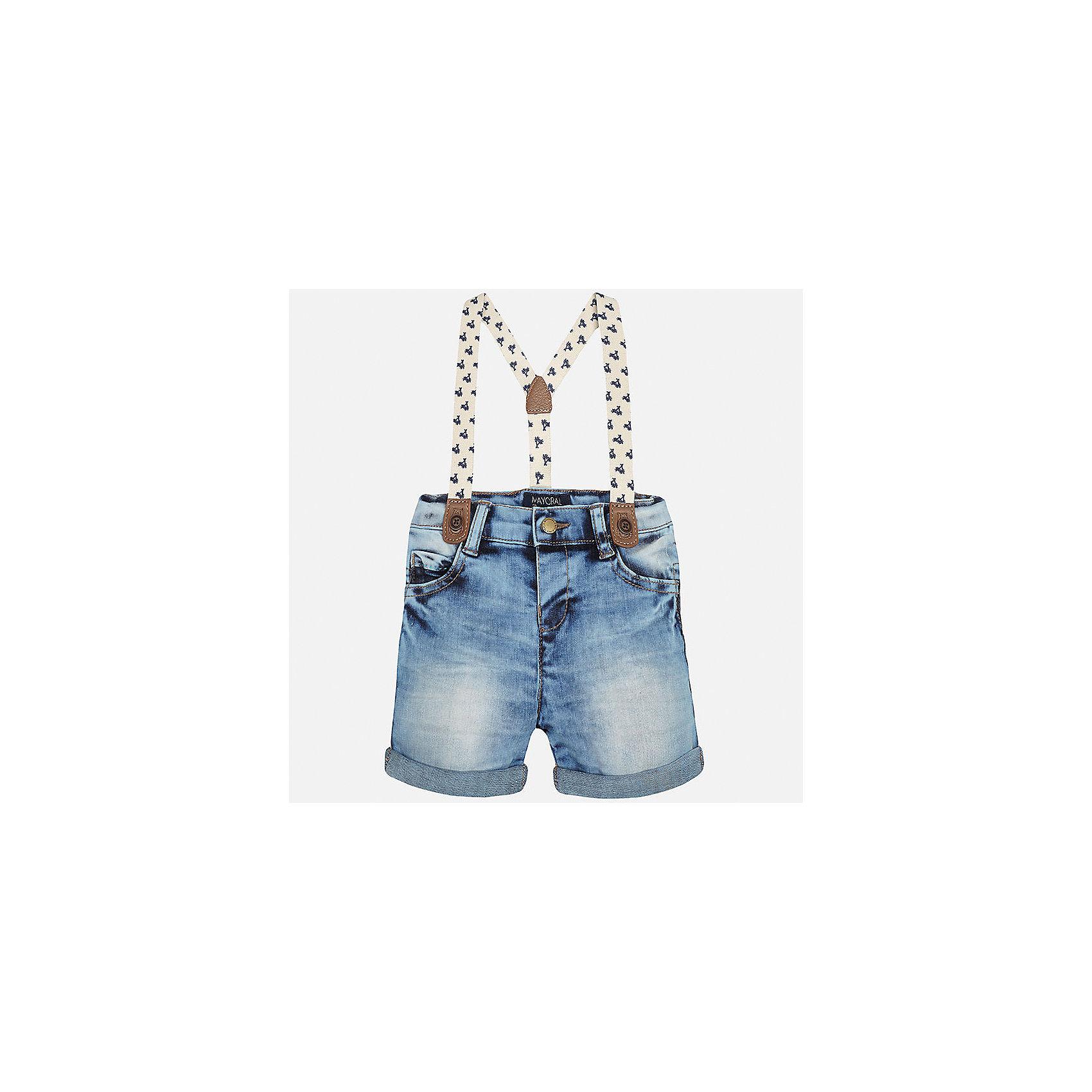 Бриджи джинсовые для мальчика MayoralДжинсовая одежда<br>Характеристики товара:<br><br>• цвет: голубой<br>• состав: 76% хлопок, 22% полиэстер, 2% эластан<br>• подтяжки в комплекте<br>• шлевки<br>• карманы<br>• пояс с регулировкой объема<br>• эффект потертости<br>• страна бренда: Испания<br><br>Модные бриджи для мальчика смогут стать базовой вещью в гардеробе ребенка. Они отлично сочетаются с майками, футболками, рубашками и т.д. Универсальный крой и цвет позволяет подобрать к вещи верх разных расцветок. Практичное и стильное изделие! В составе материала - натуральный хлопок, гипоаллергенный, приятный на ощупь, дышащий.<br><br>Одежда, обувь и аксессуары от испанского бренда Mayoral полюбились детям и взрослым по всему миру. Модели этой марки - стильные и удобные. Для их производства используются только безопасные, качественные материалы и фурнитура. Порадуйте ребенка модными и красивыми вещами от Mayoral! <br><br>Бриджи для мальчика от испанского бренда Mayoral (Майорал) можно купить в нашем интернет-магазине.<br><br>Ширина мм: 191<br>Глубина мм: 10<br>Высота мм: 175<br>Вес г: 273<br>Цвет: синий<br>Возраст от месяцев: 12<br>Возраст до месяцев: 15<br>Пол: Мужской<br>Возраст: Детский<br>Размер: 80,92,86<br>SKU: 5279519