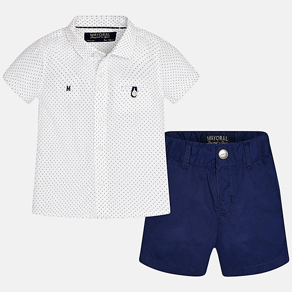 Комплект: шорты и рубашка для мальчика MayoralКомплекты<br>Характеристики товара:<br><br>• цвет: белый/синий<br>• состав: 100% хлопок<br>• комплектация: футболка, шорты<br>• рубашка декорирована вышивкой<br>• отложной воротник, короткие рукава<br>• шорты однотонные<br>• шлевки<br>• пояс регулируется<br>• страна бренда: Испания<br><br>Красивый качественный комплект для мальчика поможет разнообразить гардероб ребенка и удобно одеться в теплую погоду. Он отлично сочетается с другими предметами. Универсальный цвет позволяет подобрать к вещам верхнюю одежду практически любой расцветки. Интересная отделка модели делает её нарядной и оригинальной. В составе материала - только натуральный хлопок, гипоаллергенный, приятный на ощупь, дышащий.<br><br>Одежда, обувь и аксессуары от испанского бренда Mayoral полюбились детям и взрослым по всему миру. Модели этой марки - стильные и удобные. Для их производства используются только безопасные, качественные материалы и фурнитура. Порадуйте ребенка модными и красивыми вещами от Mayoral! <br><br>Комплект для мальчика от испанского бренда Mayoral (Майорал) можно купить в нашем интернет-магазине.<br>Ширина мм: 191; Глубина мм: 10; Высота мм: 175; Вес г: 273; Цвет: черный; Возраст от месяцев: 6; Возраст до месяцев: 9; Пол: Мужской; Возраст: Детский; Размер: 74,92,86,80; SKU: 5279527;
