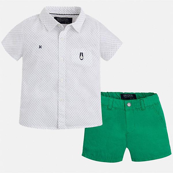 Комплект: шорты и рубашка для мальчика MayoralКомплекты<br>Характеристики товара:<br><br>• цвет: белый/зеленый<br>• состав: 100% хлопок<br>• комплектация: футболка, шорты<br>• рубашка декорирована вышивкой<br>• отложной воротник, короткие рукава<br>• шорты однотонные<br>• шлевки<br>• пояс регулируется<br>• страна бренда: Испания<br><br>Красивый качественный комплект для мальчика поможет разнообразить гардероб ребенка и удобно одеться в теплую погоду. Он отлично сочетается с другими предметами. Универсальный цвет позволяет подобрать к вещам верхнюю одежду практически любой расцветки. Интересная отделка модели делает её нарядной и оригинальной. В составе материала - только натуральный хлопок, гипоаллергенный, приятный на ощупь, дышащий.<br><br>Одежда, обувь и аксессуары от испанского бренда Mayoral полюбились детям и взрослым по всему миру. Модели этой марки - стильные и удобные. Для их производства используются только безопасные, качественные материалы и фурнитура. Порадуйте ребенка модными и красивыми вещами от Mayoral! <br><br>Комплект для мальчика от испанского бренда Mayoral (Майорал) можно купить в нашем интернет-магазине.<br>Ширина мм: 191; Глубина мм: 10; Высота мм: 175; Вес г: 273; Цвет: зеленый; Возраст от месяцев: 12; Возраст до месяцев: 18; Пол: Мужской; Возраст: Детский; Размер: 92,86,74,80; SKU: 5279532;