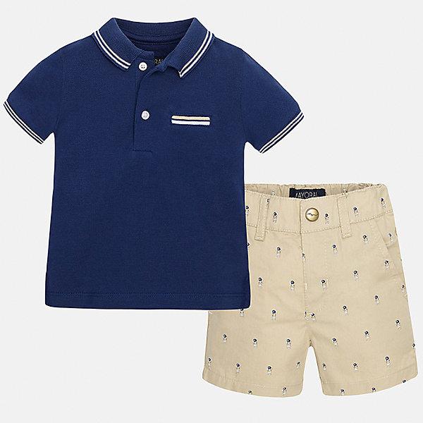 Комплект: футболка-поло и бриджи для мальчика MayoralКомплекты<br>Характеристики товара:<br><br>• цвет: синий/бежевый<br>• состав: 100% хлопок<br>• комплектация: футболка, шорты<br>• футболка с контрастной отделкой<br>• отложной воротник, короткие рукава<br>• шорты однотонные<br>• шлевки<br>• пояс регулируется<br>• страна бренда: Испания<br><br>Красивый качественный комплект для мальчика поможет разнообразить гардероб ребенка и удобно одеться в теплую погоду. Он отлично сочетается с другими предметами. Универсальный цвет позволяет подобрать к вещам верхнюю одежду практически любой расцветки. Интересная отделка модели делает её нарядной и оригинальной. В составе материала - только натуральный хлопок, гипоаллергенный, приятный на ощупь, дышащий.<br><br>Одежда, обувь и аксессуары от испанского бренда Mayoral полюбились детям и взрослым по всему миру. Модели этой марки - стильные и удобные. Для их производства используются только безопасные, качественные материалы и фурнитура. Порадуйте ребенка модными и красивыми вещами от Mayoral! <br><br>Комплект для мальчика от испанского бренда Mayoral (Майорал) можно купить в нашем интернет-магазине.<br>Ширина мм: 191; Глубина мм: 10; Высота мм: 175; Вес г: 273; Цвет: бежевый; Возраст от месяцев: 18; Возраст до месяцев: 24; Пол: Мужской; Возраст: Детский; Размер: 92,80,86; SKU: 5279537;