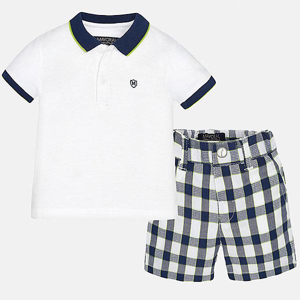 Комплект: футболка-поло и шорты для мальчика MayoralКомплекты<br>Характеристики товара:<br><br>• цвет: белый/синий<br>• состав: 100% хлопок<br>• комплектация: футболка, шорты<br>• футболка с контрастной отделкой<br>• отложной воротник, короткие рукава<br>• шорты в клетку<br>• шлевки<br>• пояс регулируется<br>• страна бренда: Испания<br><br>Красивый качественный комплект для мальчика поможет разнообразить гардероб ребенка и удобно одеться в теплую погоду. Он отлично сочетается с другими предметами. Универсальный цвет позволяет подобрать к вещам верхнюю одежду практически любой расцветки. Интересная отделка модели делает её нарядной и оригинальной. В составе материала - только натуральный хлопок, гипоаллергенный, приятный на ощупь, дышащий.<br><br>Одежда, обувь и аксессуары от испанского бренда Mayoral полюбились детям и взрослым по всему миру. Модели этой марки - стильные и удобные. Для их производства используются только безопасные, качественные материалы и фурнитура. Порадуйте ребенка модными и красивыми вещами от Mayoral! <br><br>Комплект для мальчика от испанского бренда Mayoral (Майорал) можно купить в нашем интернет-магазине.<br>Ширина мм: 191; Глубина мм: 10; Высота мм: 175; Вес г: 273; Цвет: синий; Возраст от месяцев: 12; Возраст до месяцев: 18; Пол: Мужской; Возраст: Детский; Размер: 86,80,92; SKU: 5279541;