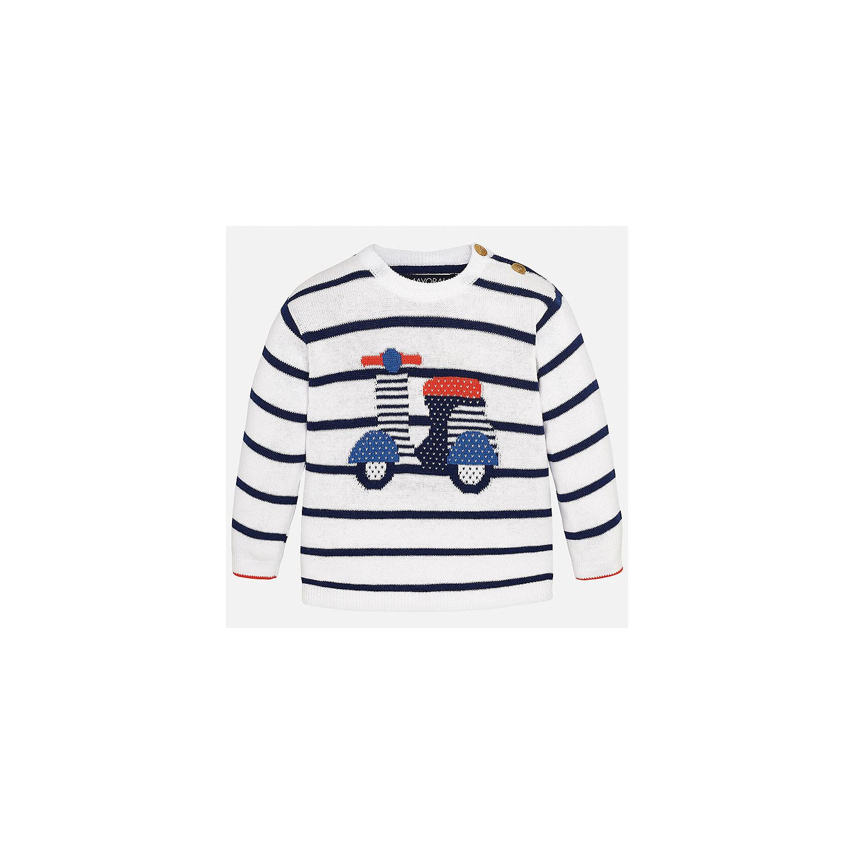 Свитер для мальчика MayoralСвитера и кардиганы<br>Характеристики товара:<br><br>• цвет: белый<br>• состав: 100% хлопок<br>• рукава длинные <br>• вязаный узор<br>• пуговицы возле горловины<br>• манжеты<br>• страна бренда: Испания<br><br>Удобный и красивый свитер для мальчика поможет разнообразить гардероб ребенка и обеспечить тепло. Он отлично сочетается и с джинсами, и с брюками. Универсальный цвет позволяет подобрать к вещи низ различных расцветок. Интересная отделка модели делает её нарядной и оригинальной. В составе материала - только натуральный хлопок, гипоаллергенный, приятный на ощупь, дышащий.<br><br>Одежда, обувь и аксессуары от испанского бренда Mayoral полюбились детям и взрослым по всему миру. Модели этой марки - стильные и удобные. Для их производства используются только безопасные, качественные материалы и фурнитура. Порадуйте ребенка модными и красивыми вещами от Mayoral! <br><br>Свитер для мальчика от испанского бренда Mayoral (Майорал) можно купить в нашем интернет-магазине.<br><br>Ширина мм: 190<br>Глубина мм: 74<br>Высота мм: 229<br>Вес г: 236<br>Цвет: белый<br>Возраст от месяцев: 18<br>Возраст до месяцев: 24<br>Пол: Мужской<br>Возраст: Детский<br>Размер: 92,86,80<br>SKU: 5279545