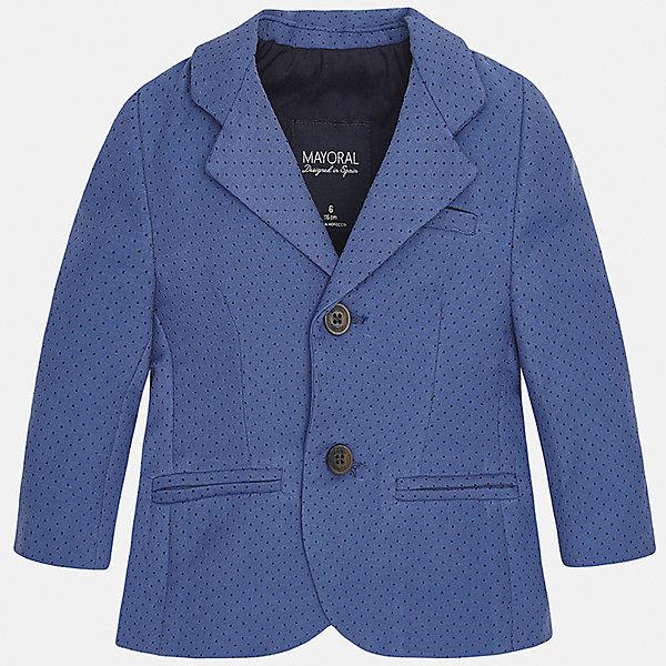 Пиджак для мальчика MayoralКостюмы и пиджаки<br>Характеристики товара:<br><br>• цвет: синий<br>• состав: 87% хлопок, 10% полиэстер, 3% эластан<br>• в мелкий горошек<br>• рукава длинные <br>• карманы<br>• пуговицы <br>• отложной воротник<br>• страна бренда: Испания<br><br>Удобный и красивый пиджак для мальчика поможет разнообразить гардероб ребенка и создать элегантный наряд. Он отлично сочетается и с джинсами, и с брюками. Универсальный цвет позволяет подобрать к вещи низ различных расцветок. Интересная отделка модели делает её нарядной и оригинальной. В составе материала - натуральный хлопок, гипоаллергенный, приятный на ощупь, дышащий.<br><br>Одежда, обувь и аксессуары от испанского бренда Mayoral полюбились детям и взрослым по всему миру. Модели этой марки - стильные и удобные. Для их производства используются только безопасные, качественные материалы и фурнитура. Порадуйте ребенка модными и красивыми вещами от Mayoral! <br><br>Пиджак для мальчика от испанского бренда Mayoral (Майорал) можно купить в нашем интернет-магазине.<br>Ширина мм: 174; Глубина мм: 10; Высота мм: 169; Вес г: 157; Цвет: синий; Возраст от месяцев: 12; Возраст до месяцев: 15; Пол: Мужской; Возраст: Детский; Размер: 86,92,74,80; SKU: 5279561;