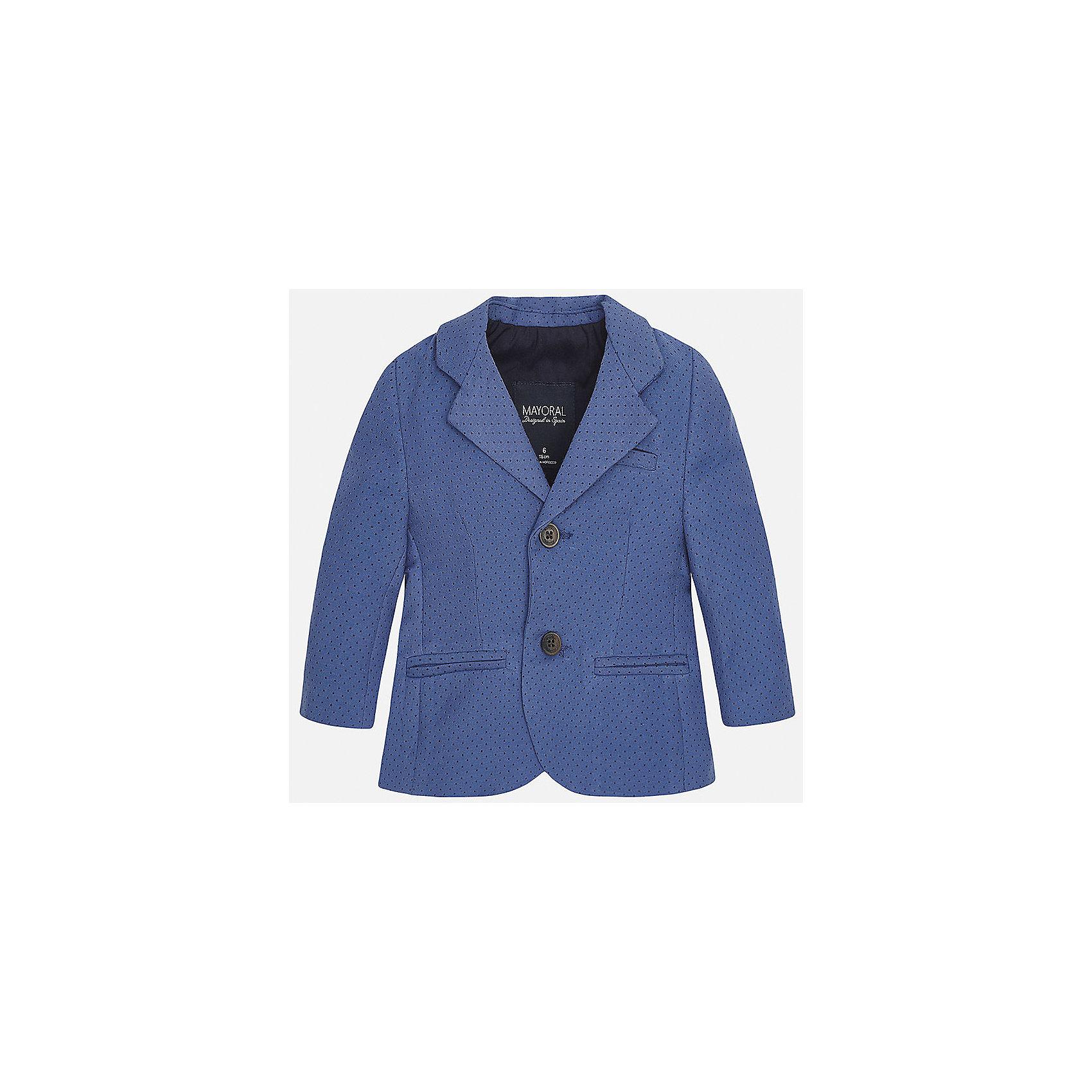 Пиджак для мальчика MayoralХарактеристики товара:<br><br>• цвет: синий<br>• состав: 87% хлопок, 10% полиэстер, 3% эластан<br>• в мелкий горошек<br>• рукава длинные <br>• карманы<br>• пуговицы <br>• отложной воротник<br>• страна бренда: Испания<br><br>Удобный и красивый пиджак для мальчика поможет разнообразить гардероб ребенка и создать элегантный наряд. Он отлично сочетается и с джинсами, и с брюками. Универсальный цвет позволяет подобрать к вещи низ различных расцветок. Интересная отделка модели делает её нарядной и оригинальной. В составе материала - натуральный хлопок, гипоаллергенный, приятный на ощупь, дышащий.<br><br>Одежда, обувь и аксессуары от испанского бренда Mayoral полюбились детям и взрослым по всему миру. Модели этой марки - стильные и удобные. Для их производства используются только безопасные, качественные материалы и фурнитура. Порадуйте ребенка модными и красивыми вещами от Mayoral! <br><br>Пиджак для мальчика от испанского бренда Mayoral (Майорал) можно купить в нашем интернет-магазине.<br><br>Ширина мм: 174<br>Глубина мм: 10<br>Высота мм: 169<br>Вес г: 157<br>Цвет: синий<br>Возраст от месяцев: 12<br>Возраст до месяцев: 15<br>Пол: Мужской<br>Возраст: Детский<br>Размер: 80,86,92,74<br>SKU: 5279561