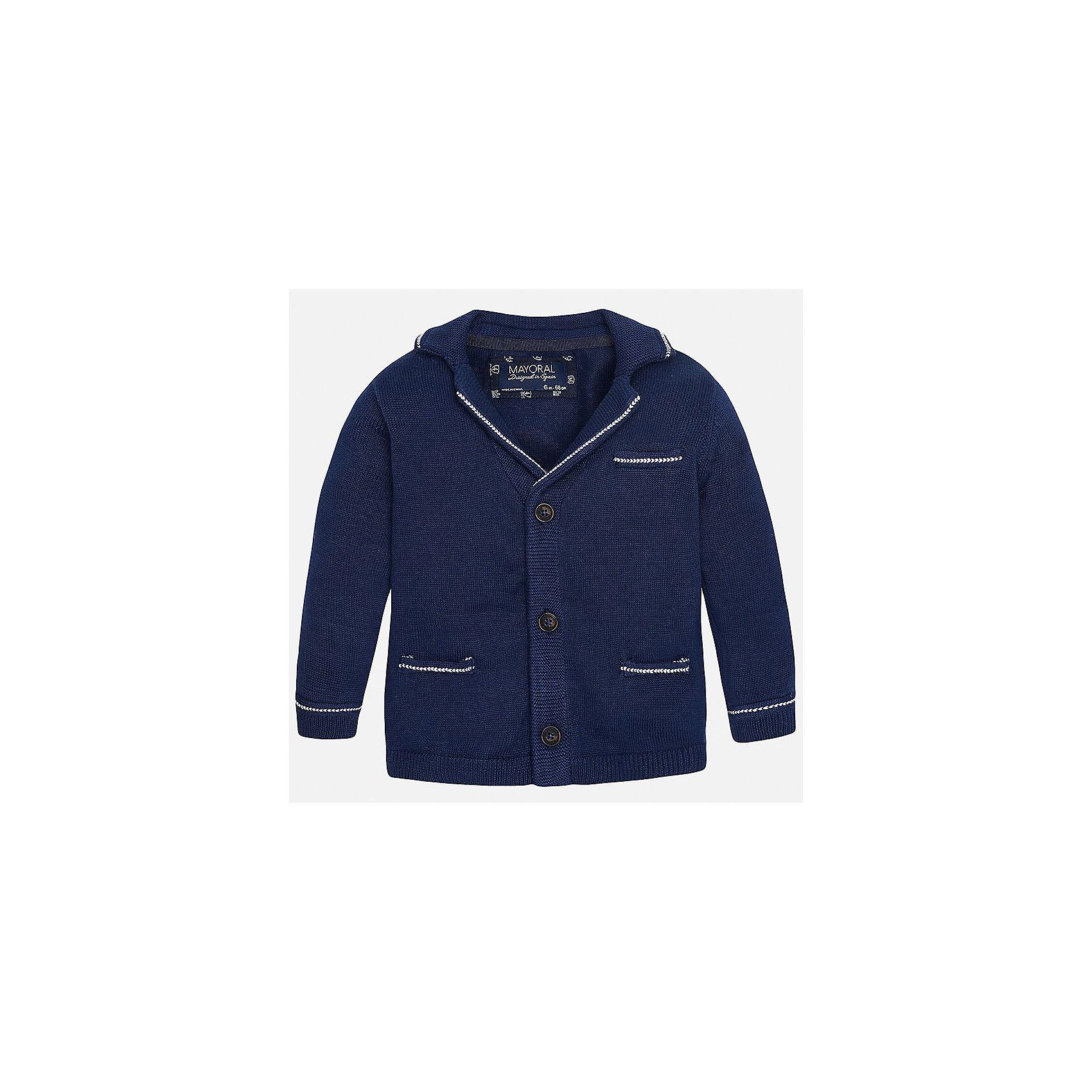 Пиджак для мальчика MayoralХарактеристики товара:<br><br>• цвет: синий<br>• состав: 100% хлопок<br>• рукава длинные <br>• карманы<br>• пуговицы <br>• манжеты<br>• страна бренда: Испания<br><br>Удобный и красивый пиджак для мальчика поможет разнообразить гардероб ребенка и обеспечить тепло. Он отлично сочетается и с джинсами, и с брюками. Универсальный цвет позволяет подобрать к вещи низ различных расцветок. Интересная отделка модели делает её нарядной и оригинальной. В составе материала - только натуральный хлопок, гипоаллергенный, приятный на ощупь, дышащий.<br><br>Одежда, обувь и аксессуары от испанского бренда Mayoral полюбились детям и взрослым по всему миру. Модели этой марки - стильные и удобные. Для их производства используются только безопасные, качественные материалы и фурнитура. Порадуйте ребенка модными и красивыми вещами от Mayoral! <br><br>Пиджак для мальчика от испанского бренда Mayoral (Майорал) можно купить в нашем интернет-магазине.<br><br>Ширина мм: 174<br>Глубина мм: 10<br>Высота мм: 169<br>Вес г: 157<br>Цвет: черный<br>Возраст от месяцев: 6<br>Возраст до месяцев: 9<br>Пол: Мужской<br>Возраст: Детский<br>Размер: 74,80,86,92<br>SKU: 5279566