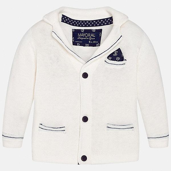 Кардиган для мальчика MayoralКостюмы и пиджаки<br>Характеристики товара:<br><br>• цвет: белый<br>• состав: 100% хлопок<br>• рукава длинные <br>• карманы<br>• пуговицы <br>• манжеты<br>• страна бренда: Испания<br><br>Удобный и красивый пиджак для мальчика поможет разнообразить гардероб ребенка и обеспечить тепло. Он отлично сочетается и с джинсами, и с брюками. Интересная отделка модели делает её нарядной и оригинальной. В составе материала - только натуральный хлопок, гипоаллергенный, приятный на ощупь, дышащий.<br><br>Пиджак для мальчика от испанского бренда Mayoral (Майорал) можно купить в нашем интернет-магазине.<br><br>Ширина мм: 174<br>Глубина мм: 10<br>Высота мм: 169<br>Вес г: 157<br>Цвет: бежевый<br>Возраст от месяцев: 12<br>Возраст до месяцев: 18<br>Пол: Мужской<br>Возраст: Детский<br>Размер: 86,74,80,92<br>SKU: 5279571