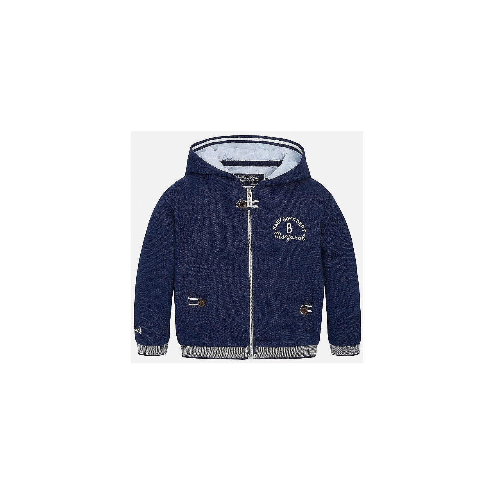 Толстовка для мальчика MayoralТолстовки, свитера, кардиганы<br>Характеристики товара:<br><br>• цвет: синий<br>• состав: 65% хлопок, 35% полиэстер<br>• рукава длинные <br>• карманы<br>• молния<br>• капюшон<br>• страна бренда: Испания<br><br>Удобная модная толстовка для мальчика поможет разнообразить гардероб ребенка и обеспечить тепло. Она отлично сочетается и с джинсами, и с брюками. Универсальный цвет позволяет подобрать к вещи низ различных расцветок. Интересная отделка модели делает её нарядной и оригинальной. В составе материала - натуральный хлопок, гипоаллергенный, приятный на ощупь, дышащий.<br><br>Одежда, обувь и аксессуары от испанского бренда Mayoral полюбились детям и взрослым по всему миру. Модели этой марки - стильные и удобные. Для их производства используются только безопасные, качественные материалы и фурнитура. Порадуйте ребенка модными и красивыми вещами от Mayoral! <br><br>Толстовка для мальчика от испанского бренда Mayoral (Майорал) можно купить в нашем интернет-магазине.<br><br>Ширина мм: 356<br>Глубина мм: 10<br>Высота мм: 245<br>Вес г: 519<br>Цвет: синий<br>Возраст от месяцев: 12<br>Возраст до месяцев: 18<br>Пол: Мужской<br>Возраст: Детский<br>Размер: 86,92,80<br>SKU: 5279576