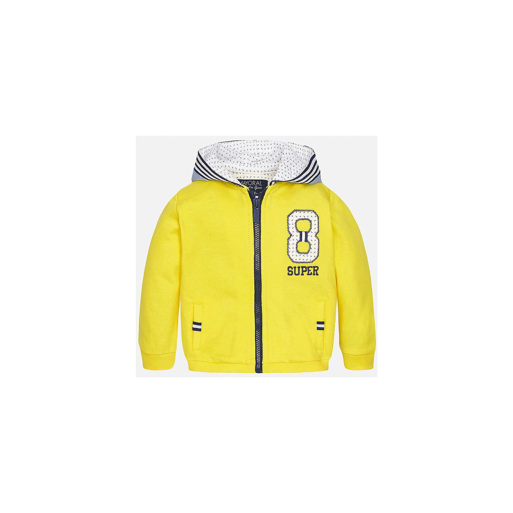 Толстовка для мальчика MayoralТолстовки, свитера, кардиганы<br>Характеристики товара:<br><br>• цвет: желтый<br>• состав: 100% хлопок<br>• рукава длинные <br>• карманы<br>• молния<br>• капюшон<br>• страна бренда: Испания<br><br>Удобная модная куртка для мальчика поможет разнообразить гардероб ребенка и обеспечить тепло. Она отлично сочетается и с джинсами, и с брюками. Универсальный цвет позволяет подобрать к вещи низ различных расцветок. Интересная отделка модели делает её нарядной и оригинальной. В составе материала - только натуральный хлопок, гипоаллергенный, приятный на ощупь, дышащий.<br><br>Одежда, обувь и аксессуары от испанского бренда Mayoral полюбились детям и взрослым по всему миру. Модели этой марки - стильные и удобные. Для их производства используются только безопасные, качественные материалы и фурнитура. Порадуйте ребенка модными и красивыми вещами от Mayoral! <br><br>Куртку для мальчика от испанского бренда Mayoral (Майорал) можно купить в нашем интернет-магазине.<br><br>Ширина мм: 356<br>Глубина мм: 10<br>Высота мм: 245<br>Вес г: 519<br>Цвет: желтый<br>Возраст от месяцев: 12<br>Возраст до месяцев: 15<br>Пол: Мужской<br>Возраст: Детский<br>Размер: 80,86,92<br>SKU: 5279580