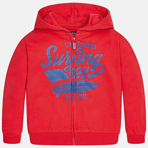 Толстовка для мальчика MayoralТолстовки<br>Характеристики товара:<br><br>• цвет: красный<br>• состав: 60% хлопок, 40% полиэстер<br>• рукава длинные <br>• принт<br>• молния<br>• капюшон<br>• страна бренда: Испания<br><br>Удобная модная куртка для мальчика поможет разнообразить гардероб ребенка и обеспечить тепло. Она отлично сочетается и с джинсами, и с брюками. Универсальный цвет позволяет подобрать к вещи низ различных расцветок. Интересная отделка модели делает её нарядной и оригинальной. В составе материала - натуральный хлопок, гипоаллергенный, приятный на ощупь, дышащий.<br><br>Одежда, обувь и аксессуары от испанского бренда Mayoral полюбились детям и взрослым по всему миру. Модели этой марки - стильные и удобные. Для их производства используются только безопасные, качественные материалы и фурнитура. Порадуйте ребенка модными и красивыми вещами от Mayoral! <br><br>Куртку для мальчика от испанского бренда Mayoral (Майорал) можно купить в нашем интернет-магазине.<br><br>Ширина мм: 356<br>Глубина мм: 10<br>Высота мм: 245<br>Вес г: 519<br>Цвет: красный<br>Возраст от месяцев: 12<br>Возраст до месяцев: 18<br>Пол: Мужской<br>Возраст: Детский<br>Размер: 86,80,92<br>SKU: 5279592