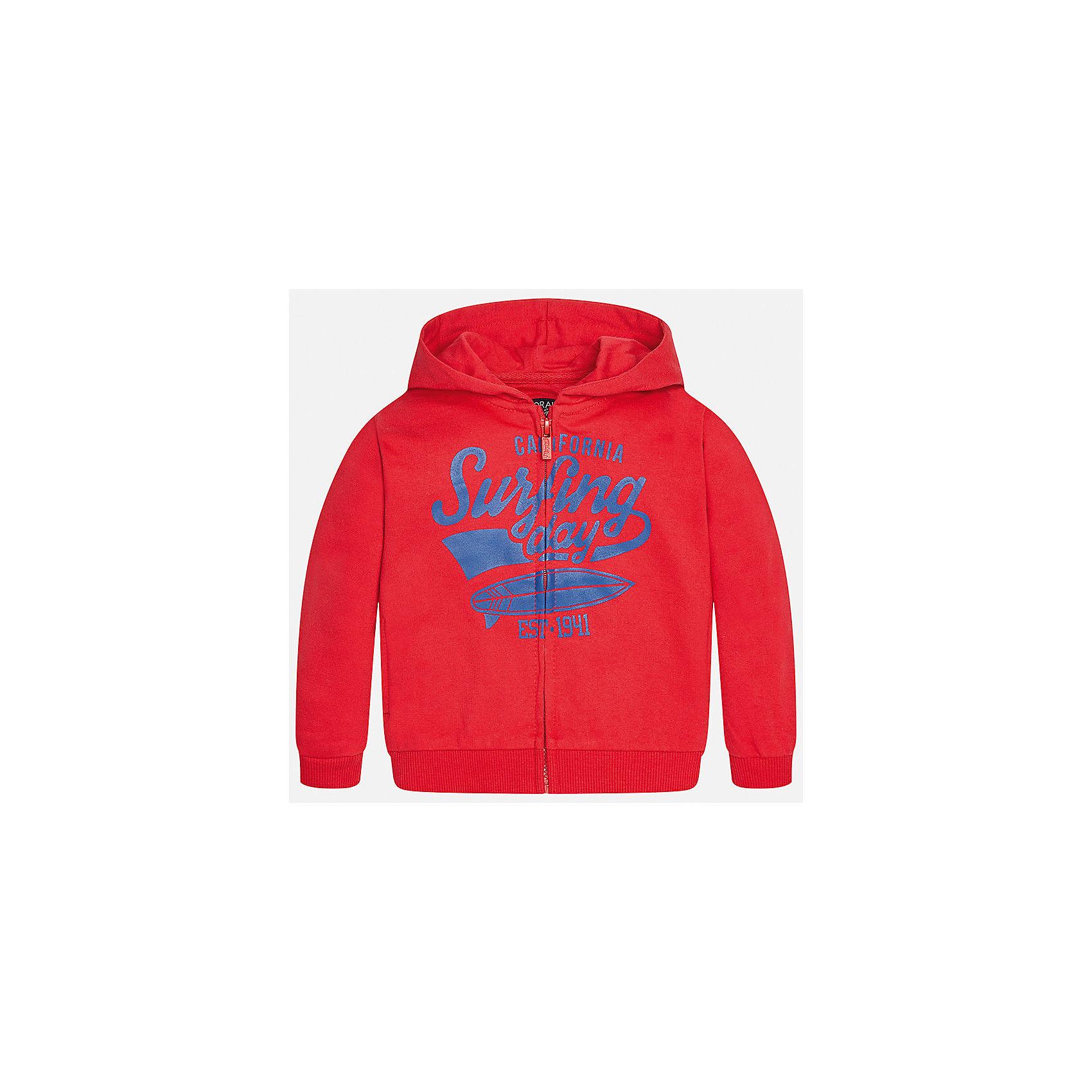 Толстовка для мальчика MayoralЛови волну<br>Характеристики товара:<br><br>• цвет: красный<br>• состав: 60% хлопок, 40% полиэстер<br>• рукава длинные <br>• принт<br>• молния<br>• капюшон<br>• страна бренда: Испания<br><br>Удобная модная куртка для мальчика поможет разнообразить гардероб ребенка и обеспечить тепло. Она отлично сочетается и с джинсами, и с брюками. Универсальный цвет позволяет подобрать к вещи низ различных расцветок. Интересная отделка модели делает её нарядной и оригинальной. В составе материала - натуральный хлопок, гипоаллергенный, приятный на ощупь, дышащий.<br><br>Одежда, обувь и аксессуары от испанского бренда Mayoral полюбились детям и взрослым по всему миру. Модели этой марки - стильные и удобные. Для их производства используются только безопасные, качественные материалы и фурнитура. Порадуйте ребенка модными и красивыми вещами от Mayoral! <br><br>Куртку для мальчика от испанского бренда Mayoral (Майорал) можно купить в нашем интернет-магазине.<br><br>Ширина мм: 356<br>Глубина мм: 10<br>Высота мм: 245<br>Вес г: 519<br>Цвет: красный<br>Возраст от месяцев: 12<br>Возраст до месяцев: 18<br>Пол: Мужской<br>Возраст: Детский<br>Размер: 86,80,92<br>SKU: 5279592