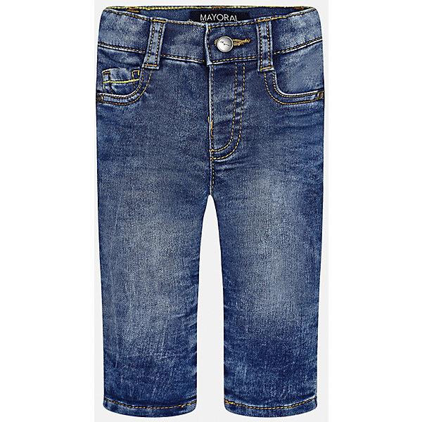 Джинсы для мальчика MayoralДжинсы<br>Характеристики товара:<br><br>• цвет: синий<br>• состав: 52% хлопок, 47% полиэстер, 1% эластан<br>• эффект потертости<br>• карманы<br>• пояс с регулировкой объема<br>• шлевки<br>• страна бренда: Испания<br><br>Стильные джинсы для мальчика смогут разнообразить гардероб ребенка и украсить наряд. Они отлично сочетаются с майками, футболками, рубашками. Интересный крой модели делает её нарядной и оригинальной. В составе материала - натуральный хлопок, гипоаллергенный, приятный на ощупь, дышащий.<br><br>Джинсы для мальчика от испанского бренда Mayoral (Майорал) можно купить в нашем интернет-магазине.<br>Ширина мм: 215; Глубина мм: 88; Высота мм: 191; Вес г: 336; Цвет: синий; Возраст от месяцев: 12; Возраст до месяцев: 18; Пол: Мужской; Возраст: Детский; Размер: 86,92,80; SKU: 5279649;