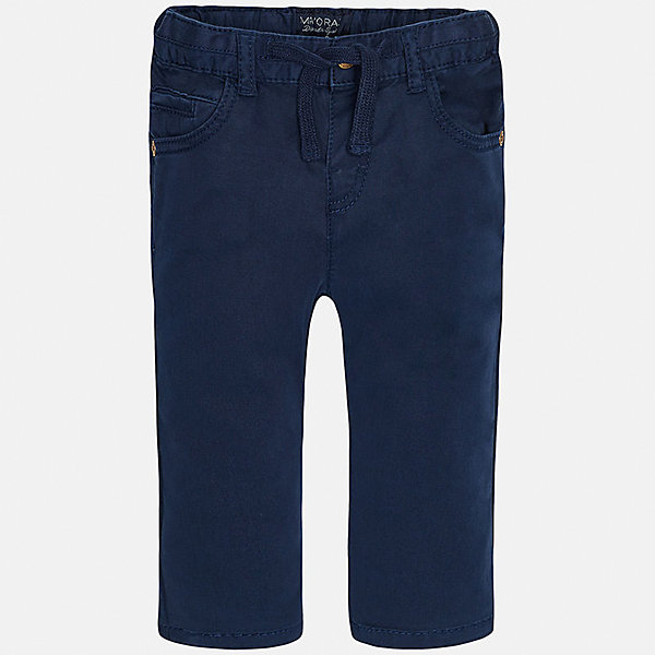Брюки для мальчика MayoralБрюки<br>Характеристики товара:<br><br>• цвет: темно-синий<br>• состав: 98% хлопок, 2% эластан<br>• на задних карманах пуговицы<br>• прямые штанины<br>• пояс - широкая резинка и шнурок<br>• страна бренда: Испания<br><br>Красивые брюки для мальчика помогут обеспечить ребенку комфорт. Они отлично сочетаются с майками, футболками, куртками и т.д. Универсальный крой и цвет позволяет подобрать к вещи верх разных расцветок. Практичное и стильное изделие! В составе материала - натуральный хлопок, гипоаллергенный, приятный на ощупь, дышащий.<br><br>Одежда, обувь и аксессуары от испанского бренда Mayoral полюбились детям и взрослым по всему миру. Модели этой марки - стильные и удобные. Для их производства используются только безопасные, качественные материалы и фурнитура. Порадуйте ребенка модными и красивыми вещами от Mayoral! <br><br>Брюки для мальчика от испанского бренда Mayoral (Майорал) можно купить в нашем интернет-магазине.<br><br>Ширина мм: 215<br>Глубина мм: 88<br>Высота мм: 191<br>Вес г: 336<br>Цвет: синий<br>Возраст от месяцев: 12<br>Возраст до месяцев: 18<br>Пол: Мужской<br>Возраст: Детский<br>Размер: 86,80,92<br>SKU: 5279665