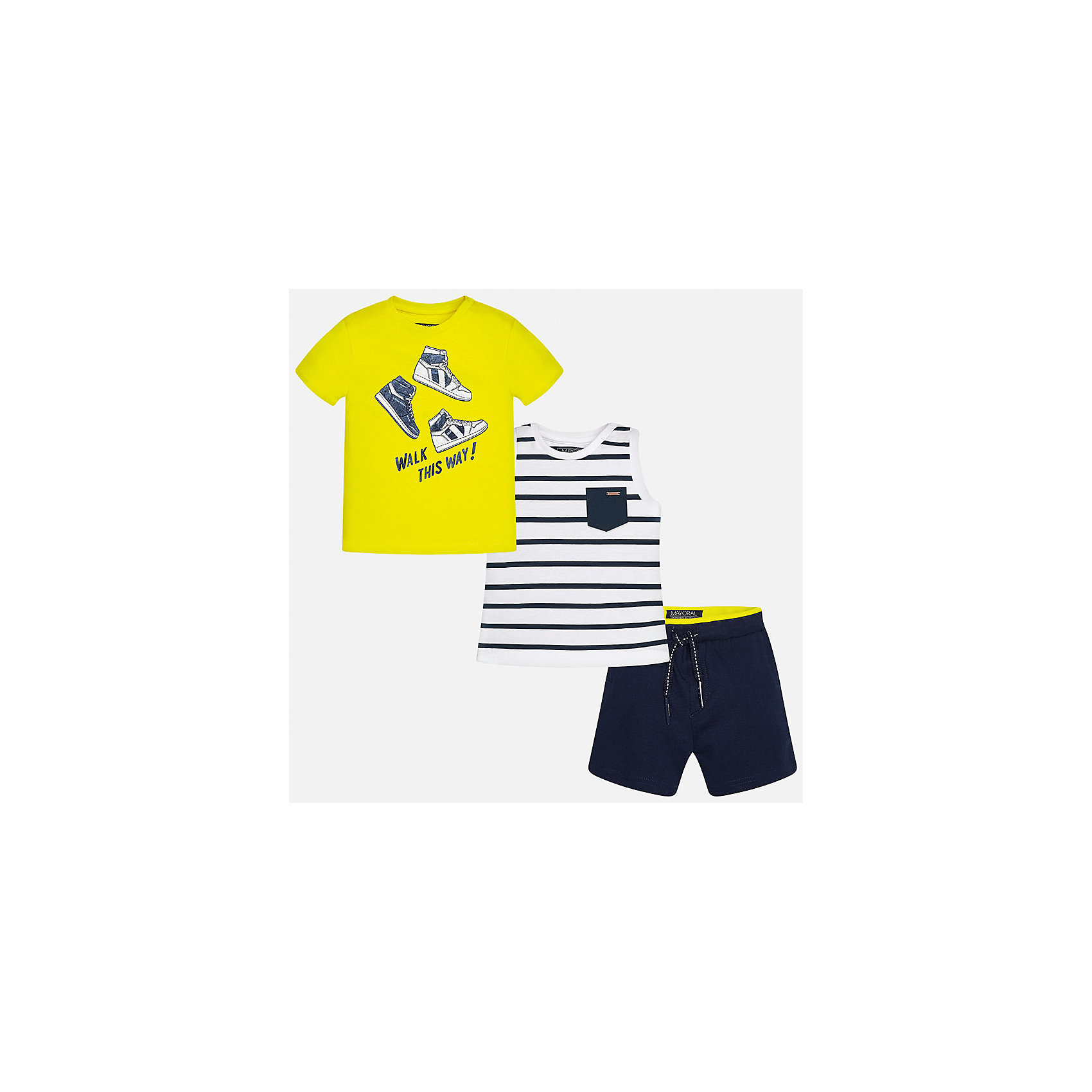 Комплект: футболка, майка и шорты для мальчика MayoralКомплекты<br>Характеристики товара:<br><br>• цвет: жёлтый/белый/синий<br>• состав: 100% хлопок<br>• комплектация: футболка, майка, шорты<br>• футболка декорирована принтом<br>• короткие рукава<br>• шорты однотонные<br>• в поясе шнурок<br>• страна бренда: Испания<br><br>Красивый качественный комплект для мальчика поможет разнообразить гардероб ребенка и удобно одеться в теплую погоду. Он отлично сочетается с другими предметами. Универсальный цвет позволяет подобрать к вещам верхнюю одежду практически любой расцветки. Интересная отделка модели делает её нарядной и оригинальной. В составе материала - только натуральный хлопок, гипоаллергенный, приятный на ощупь, дышащий.<br><br>Одежда, обувь и аксессуары от испанского бренда Mayoral полюбились детям и взрослым по всему миру. Модели этой марки - стильные и удобные. Для их производства используются только безопасные, качественные материалы и фурнитура. Порадуйте ребенка модными и красивыми вещами от Mayoral! <br><br>Комплект для мальчика от испанского бренда Mayoral (Майорал) можно купить в нашем интернет-магазине.<br><br>Ширина мм: 157<br>Глубина мм: 13<br>Высота мм: 119<br>Вес г: 200<br>Цвет: синий<br>Возраст от месяцев: 12<br>Возраст до месяцев: 15<br>Пол: Мужской<br>Возраст: Детский<br>Размер: 80,92,86<br>SKU: 5279677
