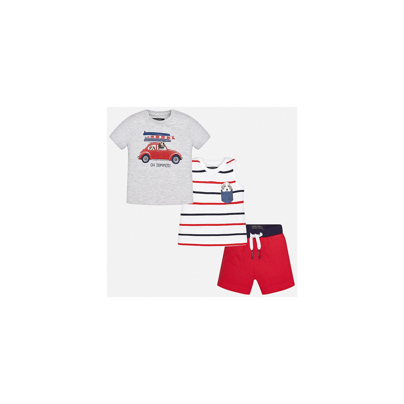 Комплект: футболка, майка и шорты для мальчика MayoralКомплекты<br>Характеристики товара:<br><br>• цвет: серый/белый/красный<br>• состав: 100% хлопок<br>• комплектация: футболка, майка, шорты<br>• футболка декорирована принтом<br>• короткие рукава<br>• в поясе шнурок<br>• страна бренда: Испания<br><br>Красивый качественный комплект для мальчика поможет разнообразить гардероб ребенка и удобно одеться в теплую погоду. Он отлично сочетается с другими предметами. В составе материала - только натуральный хлопок, гипоаллергенный, приятный на ощупь, дышащий.<br><br>Комплект для мальчика от испанского бренда Mayoral (Майорал) можно купить в нашем интернет-магазине.<br><br>Ширина мм: 157<br>Глубина мм: 13<br>Высота мм: 119<br>Вес г: 200<br>Цвет: розовый<br>Возраст от месяцев: 12<br>Возраст до месяцев: 18<br>Пол: Мужской<br>Возраст: Детский<br>Размер: 86,80,92<br>SKU: 5279705
