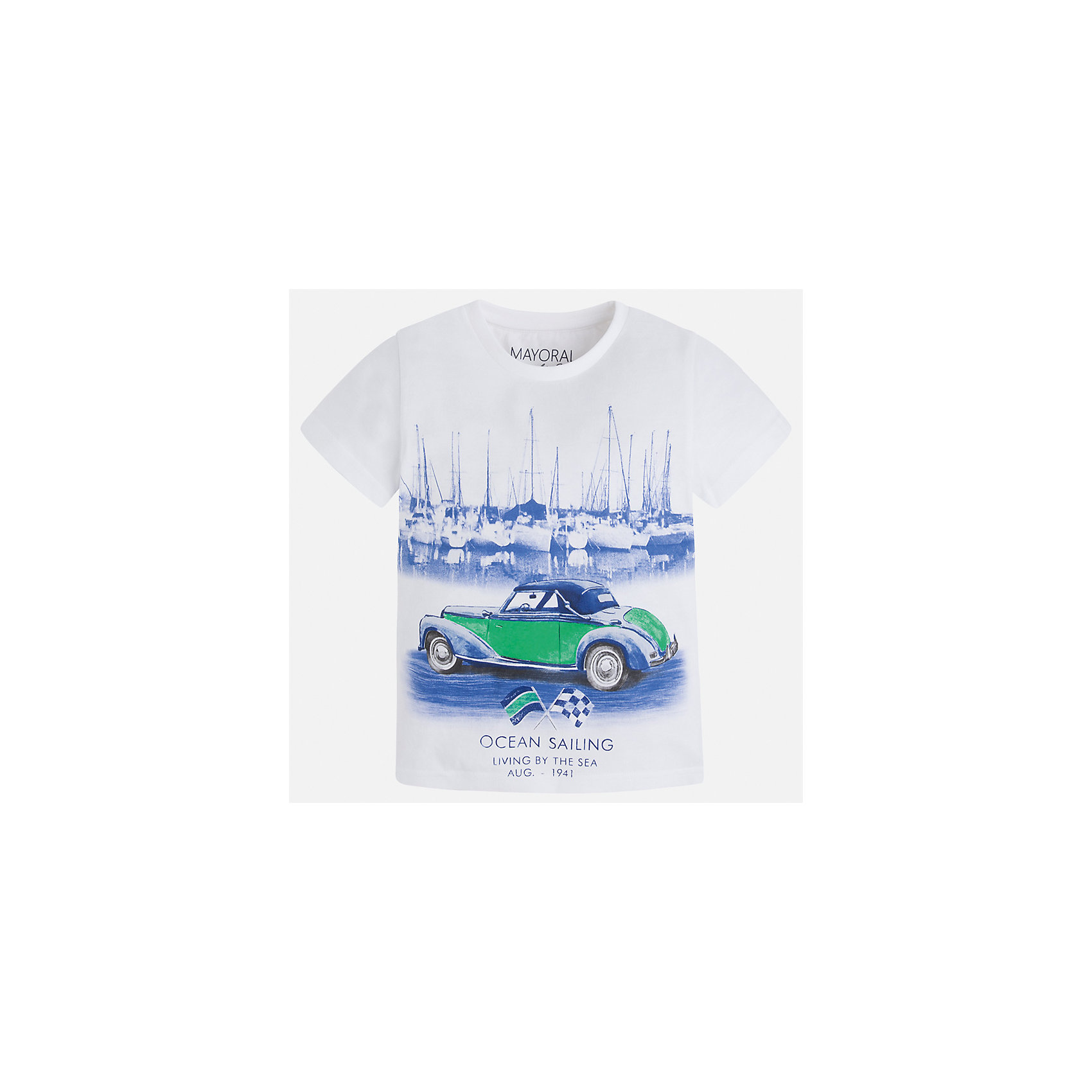 Футболка для мальчика MayoralФутболки, поло и топы<br>Характеристики товара:<br><br>• цвет: белый<br>• состав: 100% хлопок<br>• круглый горловой вырез<br>• принт впереди<br>• короткие рукава<br>• отделка горловины<br>• страна бренда: Испания<br><br>Стильная футболка с принтом поможет разнообразить гардероб мальчика. Она отлично сочетается с брюками, шортами, джинсами и т.д. Универсальный крой и цвет позволяет подобрать к вещи низ разных расцветок. Практичное и стильное изделие! В составе материала - только натуральный хлопок, гипоаллергенный, приятный на ощупь, дышащий.<br><br>Одежда, обувь и аксессуары от испанского бренда Mayoral полюбились детям и взрослым по всему миру. Модели этой марки - стильные и удобные. Для их производства используются только безопасные, качественные материалы и фурнитура. Порадуйте ребенка модными и красивыми вещами от Mayoral! <br><br>Футболку для мальчика от испанского бренда Mayoral (Майорал) можно купить в нашем интернет-магазине.<br><br>Ширина мм: 199<br>Глубина мм: 10<br>Высота мм: 161<br>Вес г: 151<br>Цвет: белый<br>Возраст от месяцев: 18<br>Возраст до месяцев: 24<br>Пол: Мужской<br>Возраст: Детский<br>Размер: 92,116,134,128,122,110,104,98<br>SKU: 5279737