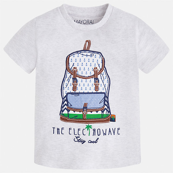 Футболка для мальчика MayoralФутболки, поло и топы<br>Характеристики товара:<br><br>• цвет: серый<br>• состав: 100% хлопок<br>• круглый горловой вырез<br>• принт впереди<br>• короткие рукава<br>• отделка горловины<br>• страна бренда: Испания<br><br>Модная удобная футболка с принтом поможет разнообразить гардероб мальчика. Она отлично сочетается с брюками, шортами, джинсами и т.д. Универсальный крой и цвет позволяет подобрать к вещи низ разных расцветок. Практичное и стильное изделие! В составе материала - только натуральный хлопок, гипоаллергенный, приятный на ощупь, дышащий.<br><br>Одежда, обувь и аксессуары от испанского бренда Mayoral полюбились детям и взрослым по всему миру. Модели этой марки - стильные и удобные. Для их производства используются только безопасные, качественные материалы и фурнитура. Порадуйте ребенка модными и красивыми вещами от Mayoral! <br><br>Футболку для мальчика от испанского бренда Mayoral (Майорал) можно купить в нашем интернет-магазине.<br><br>Ширина мм: 199<br>Глубина мм: 10<br>Высота мм: 161<br>Вес г: 151<br>Цвет: серый<br>Возраст от месяцев: 18<br>Возраст до месяцев: 24<br>Пол: Мужской<br>Возраст: Детский<br>Размер: 92,110,98,104,116,122,128,134<br>SKU: 5279782