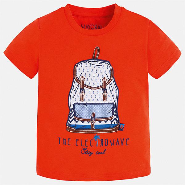 Футболка для мальчика MayoralФутболки, поло и топы<br>Характеристики товара:<br><br>• цвет: красный<br>• состав: 100% хлопок<br>• круглый горловой вырез<br>• принт впереди<br>• короткие рукава<br>• отделка горловины<br>• страна бренда: Испания<br><br>Модная удобная футболка с принтом поможет разнообразить гардероб мальчика. Она отлично сочетается с брюками, шортами, джинсами и т.д. Универсальный крой и цвет позволяет подобрать к вещи низ разных расцветок. Практичное и стильное изделие! В составе материала - только натуральный хлопок, гипоаллергенный, приятный на ощупь, дышащий.<br><br>Одежда, обувь и аксессуары от испанского бренда Mayoral полюбились детям и взрослым по всему миру. Модели этой марки - стильные и удобные. Для их производства используются только безопасные, качественные материалы и фурнитура. Порадуйте ребенка модными и красивыми вещами от Mayoral! <br><br>Футболку для мальчика от испанского бренда Mayoral (Майорал) можно купить в нашем интернет-магазине.<br>Ширина мм: 199; Глубина мм: 10; Высота мм: 161; Вес г: 151; Цвет: красный; Возраст от месяцев: 18; Возраст до месяцев: 24; Пол: Мужской; Возраст: Детский; Размер: 92,134,98,104,110,116,122,128; SKU: 5279791;