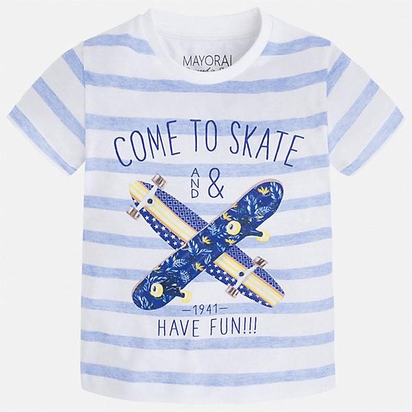 Футболка для мальчика MayoralФутболки, поло и топы<br>Характеристики товара:<br><br>• цвет: белый/голубой<br>• состав: 100% хлопок<br>• круглый горловой вырез<br>• декорирована принтом<br>• короткие рукава<br>• отделка горловины<br>• страна бренда: Испания<br><br>Модная удобная футболка с принтом поможет разнообразить гардероб мальчика. Она отлично сочетается с брюками, шортами, джинсами. Универсальный крой и цвет позволяет подобрать к вещи низ разных расцветок. Практичное и стильное изделие! Хорошо смотрится и комфортно сидит на детях. В составе материала - только натуральный хлопок, гипоаллергенный, приятный на ощупь, дышащий. <br><br>Одежда, обувь и аксессуары от испанского бренда Mayoral полюбились детям и взрослым по всему миру. Модели этой марки - стильные и удобные. Для их производства используются только безопасные, качественные материалы и фурнитура. Порадуйте ребенка модными и красивыми вещами от Mayoral! <br><br>Футболку для мальчика от испанского бренда Mayoral (Майорал) можно купить в нашем интернет-магазине.<br>Ширина мм: 199; Глубина мм: 10; Высота мм: 161; Вес г: 151; Цвет: белый; Возраст от месяцев: 18; Возраст до месяцев: 24; Пол: Мужской; Возраст: Детский; Размер: 92,128,98,104,134,116,110,122; SKU: 5279845;