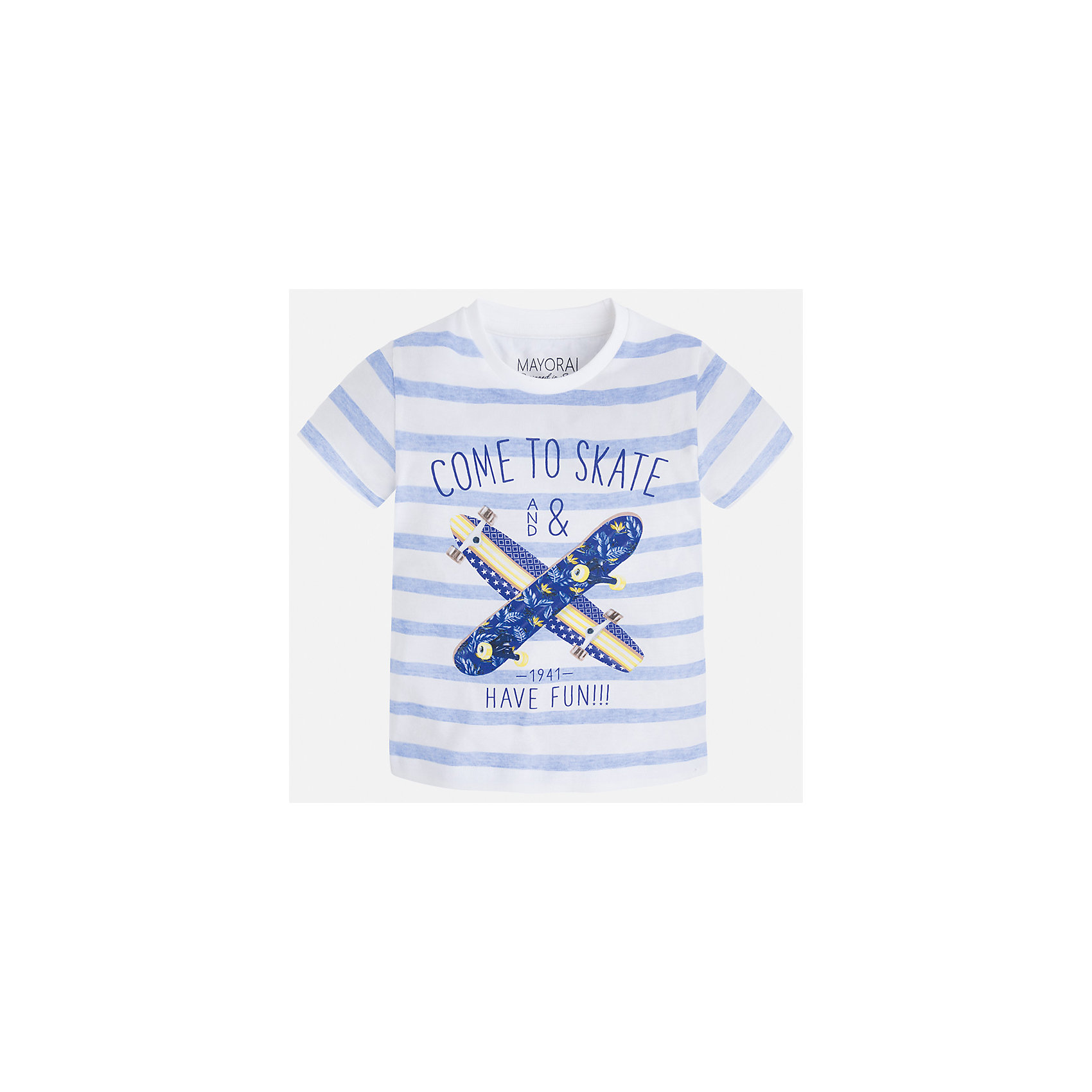 Футболка для мальчика MayoralФутболки, поло и топы<br>Характеристики товара:<br><br>• цвет: белый/голубой<br>• состав: 100% хлопок<br>• круглый горловой вырез<br>• декорирована принтом<br>• короткие рукава<br>• отделка горловины<br>• страна бренда: Испания<br><br>Модная удобная футболка с принтом поможет разнообразить гардероб мальчика. Она отлично сочетается с брюками, шортами, джинсами. Универсальный крой и цвет позволяет подобрать к вещи низ разных расцветок. Практичное и стильное изделие! Хорошо смотрится и комфортно сидит на детях. В составе материала - только натуральный хлопок, гипоаллергенный, приятный на ощупь, дышащий. <br><br>Одежда, обувь и аксессуары от испанского бренда Mayoral полюбились детям и взрослым по всему миру. Модели этой марки - стильные и удобные. Для их производства используются только безопасные, качественные материалы и фурнитура. Порадуйте ребенка модными и красивыми вещами от Mayoral! <br><br>Футболку для мальчика от испанского бренда Mayoral (Майорал) можно купить в нашем интернет-магазине.<br><br>Ширина мм: 199<br>Глубина мм: 10<br>Высота мм: 161<br>Вес г: 151<br>Цвет: белый<br>Возраст от месяцев: 18<br>Возраст до месяцев: 24<br>Пол: Мужской<br>Возраст: Детский<br>Размер: 92,116,134,128,122,110,104,98<br>SKU: 5279845
