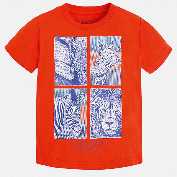 Футболка для мальчика MayoralФутболки, поло и топы<br>Характеристики товара:<br><br>• цвет: красный<br>• состав: 100% хлопок<br>• круглый горловой вырез<br>• декорирована принтом<br>• короткие рукава<br>• отделка горловины<br>• страна бренда: Испания<br><br>Модная удобная футболка с принтом поможет разнообразить гардероб мальчика. Она отлично сочетается с брюками, шортами, джинсами. Универсальный крой и цвет позволяет подобрать к вещи низ разных расцветок. Практичное и стильное изделие! Хорошо смотрится и комфортно сидит на детях. В составе материала - только натуральный хлопок, гипоаллергенный, приятный на ощупь, дышащий. <br><br>Одежда, обувь и аксессуары от испанского бренда Mayoral полюбились детям и взрослым по всему миру. Модели этой марки - стильные и удобные. Для их производства используются только безопасные, качественные материалы и фурнитура. Порадуйте ребенка модными и красивыми вещами от Mayoral! <br><br>Футболку для мальчика от испанского бренда Mayoral (Майорал) можно купить в нашем интернет-магазине.<br><br>Ширина мм: 199<br>Глубина мм: 10<br>Высота мм: 161<br>Вес г: 151<br>Цвет: красный<br>Возраст от месяцев: 18<br>Возраст до месяцев: 24<br>Пол: Мужской<br>Возраст: Детский<br>Размер: 92,110,128,134,122,116,104,98<br>SKU: 5279881