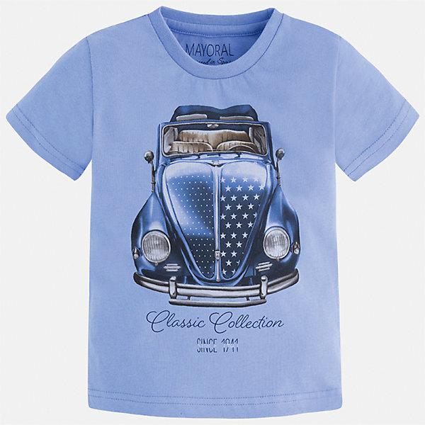 Футболка для мальчика MayoralФутболки, поло и топы<br>Характеристики товара:<br><br>• цвет: голубой<br>• состав: 100% хлопок<br>• круглый горловой вырез<br>• декорирована принтом<br>• короткие рукава<br>• отделка горловины<br>• страна бренда: Испания<br><br>Модная удобная футболка с принтом поможет разнообразить гардероб мальчика. Она отлично сочетается с брюками, шортами, джинсами. Универсальный крой и цвет позволяет подобрать к вещи низ разных расцветок. Практичное и стильное изделие! Хорошо смотрится и комфортно сидит на детях. В составе материала - только натуральный хлопок, гипоаллергенный, приятный на ощупь, дышащий. <br><br>Одежда, обувь и аксессуары от испанского бренда Mayoral полюбились детям и взрослым по всему миру. Модели этой марки - стильные и удобные. Для их производства используются только безопасные, качественные материалы и фурнитура. Порадуйте ребенка модными и красивыми вещами от Mayoral! <br><br>Футболку для мальчика от испанского бренда Mayoral (Майорал) можно купить в нашем интернет-магазине.<br><br>Ширина мм: 199<br>Глубина мм: 10<br>Высота мм: 161<br>Вес г: 151<br>Цвет: белый<br>Возраст от месяцев: 84<br>Возраст до месяцев: 96<br>Пол: Мужской<br>Возраст: Детский<br>Размер: 128,92,134,122,110,98,104,116<br>SKU: 5279908