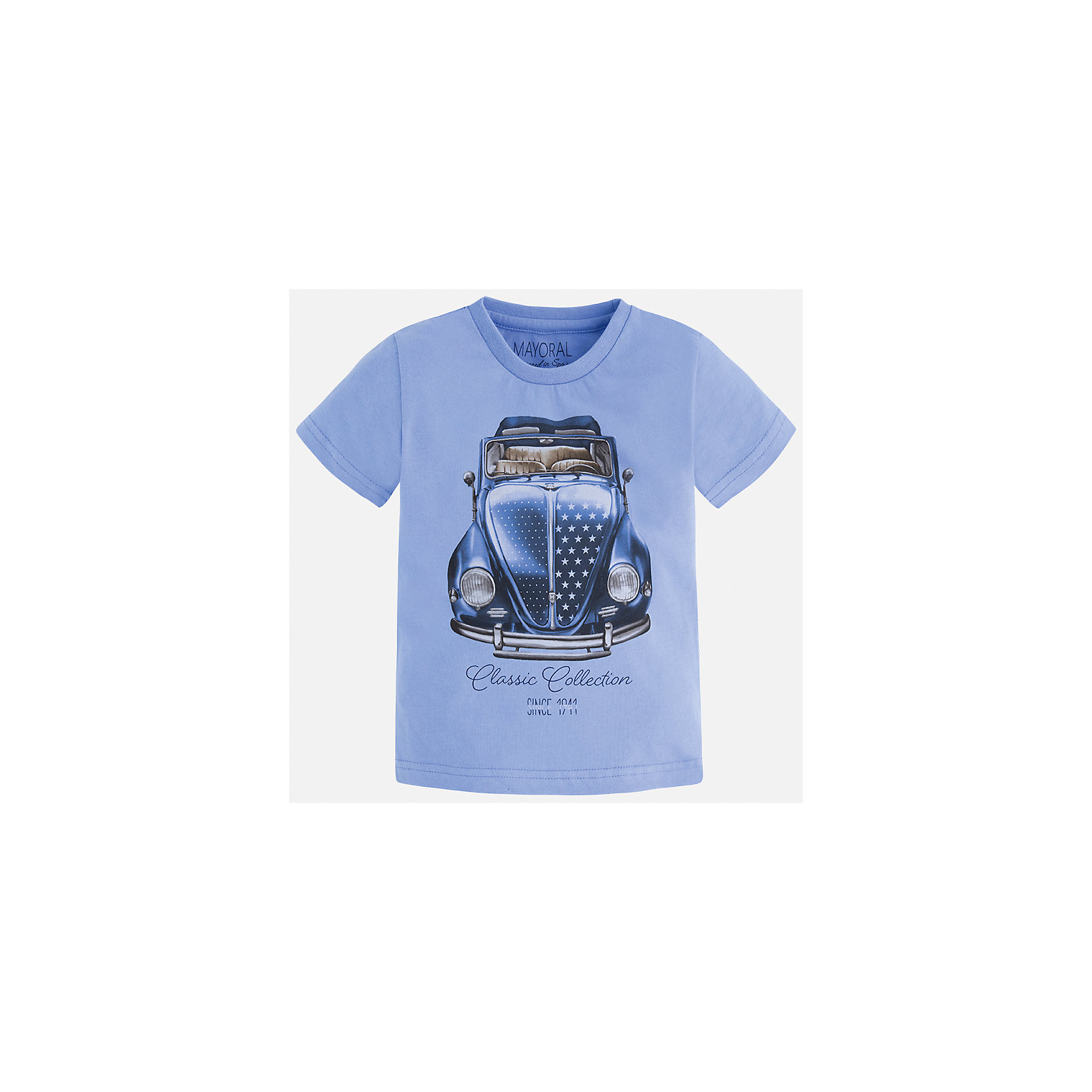 Футболка для мальчика MayoralФутболки, поло и топы<br>Характеристики товара:<br><br>• цвет: голубой<br>• состав: 100% хлопок<br>• круглый горловой вырез<br>• декорирована принтом<br>• короткие рукава<br>• отделка горловины<br>• страна бренда: Испания<br><br>Модная удобная футболка с принтом поможет разнообразить гардероб мальчика. Она отлично сочетается с брюками, шортами, джинсами. Универсальный крой и цвет позволяет подобрать к вещи низ разных расцветок. Практичное и стильное изделие! Хорошо смотрится и комфортно сидит на детях. В составе материала - только натуральный хлопок, гипоаллергенный, приятный на ощупь, дышащий. <br><br>Одежда, обувь и аксессуары от испанского бренда Mayoral полюбились детям и взрослым по всему миру. Модели этой марки - стильные и удобные. Для их производства используются только безопасные, качественные материалы и фурнитура. Порадуйте ребенка модными и красивыми вещами от Mayoral! <br><br>Футболку для мальчика от испанского бренда Mayoral (Майорал) можно купить в нашем интернет-магазине.<br><br>Ширина мм: 199<br>Глубина мм: 10<br>Высота мм: 161<br>Вес г: 151<br>Цвет: белый<br>Возраст от месяцев: 84<br>Возраст до месяцев: 96<br>Пол: Мужской<br>Возраст: Детский<br>Размер: 128,122,110,98,104,116,92,134<br>SKU: 5279908