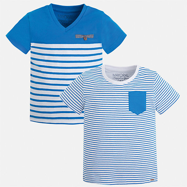 Футболка (2 шт.) для мальчика MayoralФутболки, поло и топы<br>Характеристики товара:<br><br>• цвет: голубой/белый<br>• состав: 100% хлопок<br>• комплектация: 2 шт<br>• декорированы кармашком на груди<br>• короткие рукава<br>• отделка горловины<br>• страна бренда: Испания<br><br>Модная удобная футболка с принтом поможет разнообразить гардероб мальчика. Она отлично сочетается с брюками, шортами, джинсами. Универсальный крой и цвет позволяет подобрать к вещи низ разных расцветок. Практичное и стильное изделие! Хорошо смотрится и комфортно сидит на детях. В составе материала - только натуральный хлопок, гипоаллергенный, приятный на ощупь, дышащий. <br><br>Одежда, обувь и аксессуары от испанского бренда Mayoral полюбились детям и взрослым по всему миру. Модели этой марки - стильные и удобные. Для их производства используются только безопасные, качественные материалы и фурнитура. Порадуйте ребенка модными и красивыми вещами от Mayoral! <br><br>Футболку (2 шт.) для мальчика от испанского бренда Mayoral (Майорал) можно купить в нашем интернет-магазине.<br><br>Ширина мм: 199<br>Глубина мм: 10<br>Высота мм: 161<br>Вес г: 151<br>Цвет: синий<br>Возраст от месяцев: 18<br>Возраст до месяцев: 24<br>Пол: Мужской<br>Возраст: Детский<br>Размер: 92,116,122,128,134,110,92,98,104<br>SKU: 5279953