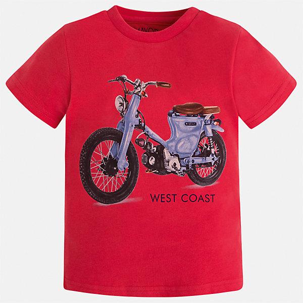 Футболка для мальчика MayoralФутболки, поло и топы<br>Характеристики товара:<br><br>• цвет: красный<br>• состав: 100% хлопок<br>• круглый горловой вырез<br>• декорирована принтом<br>• короткие рукава<br>• отделка горловины<br>• страна бренда: Испания<br><br>Стильная удобная футболка с принтом поможет разнообразить гардероб мальчика. Она отлично сочетается с брюками, шортами, джинсами. Универсальный крой и цвет позволяет подобрать к вещи низ разных расцветок. Практичное и стильное изделие! Хорошо смотрится и комфортно сидит на детях. В составе материала - только натуральный хлопок, гипоаллергенный, приятный на ощупь, дышащий. <br><br>Одежда, обувь и аксессуары от испанского бренда Mayoral полюбились детям и взрослым по всему миру. Модели этой марки - стильные и удобные. Для их производства используются только безопасные, качественные материалы и фурнитура. Порадуйте ребенка модными и красивыми вещами от Mayoral! <br><br>Футболку для мальчика от испанского бренда Mayoral (Майорал) можно купить в нашем интернет-магазине.<br>Ширина мм: 199; Глубина мм: 10; Высота мм: 161; Вес г: 151; Цвет: красный; Возраст от месяцев: 18; Возраст до месяцев: 24; Пол: Мужской; Возраст: Детский; Размер: 92,110,134,98,104,116,122,128; SKU: 5280026;