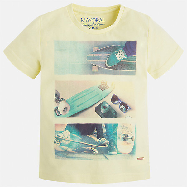 Футболка для мальчика MayoralФутболки, поло и топы<br>Характеристики товара:<br><br>• цвет: желтый<br>• состав: 100% хлопок<br>• круглый горловой вырез<br>• декорирована принтом<br>• короткие рукава<br>• отделка горловины<br>• страна бренда: Испания<br><br>Стильная удобная футболка с принтом поможет разнообразить гардероб мальчика. Она отлично сочетается с брюками, шортами, джинсами. Универсальный крой и цвет позволяет подобрать к вещи низ разных расцветок. Практичное и стильное изделие! Хорошо смотрится и комфортно сидит на детях. В составе материала - только натуральный хлопок, гипоаллергенный, приятный на ощупь, дышащий. <br><br>Одежда, обувь и аксессуары от испанского бренда Mayoral полюбились детям и взрослым по всему миру. Модели этой марки - стильные и удобные. Для их производства используются только безопасные, качественные материалы и фурнитура. Порадуйте ребенка модными и красивыми вещами от Mayoral! <br><br>Футболку для мальчика от испанского бренда Mayoral (Майорал) можно купить в нашем интернет-магазине.<br><br>Ширина мм: 199<br>Глубина мм: 10<br>Высота мм: 161<br>Вес г: 151<br>Цвет: оранжевый<br>Возраст от месяцев: 48<br>Возраст до месяцев: 60<br>Пол: Мужской<br>Возраст: Детский<br>Размер: 122,116,110,134,128<br>SKU: 5280059
