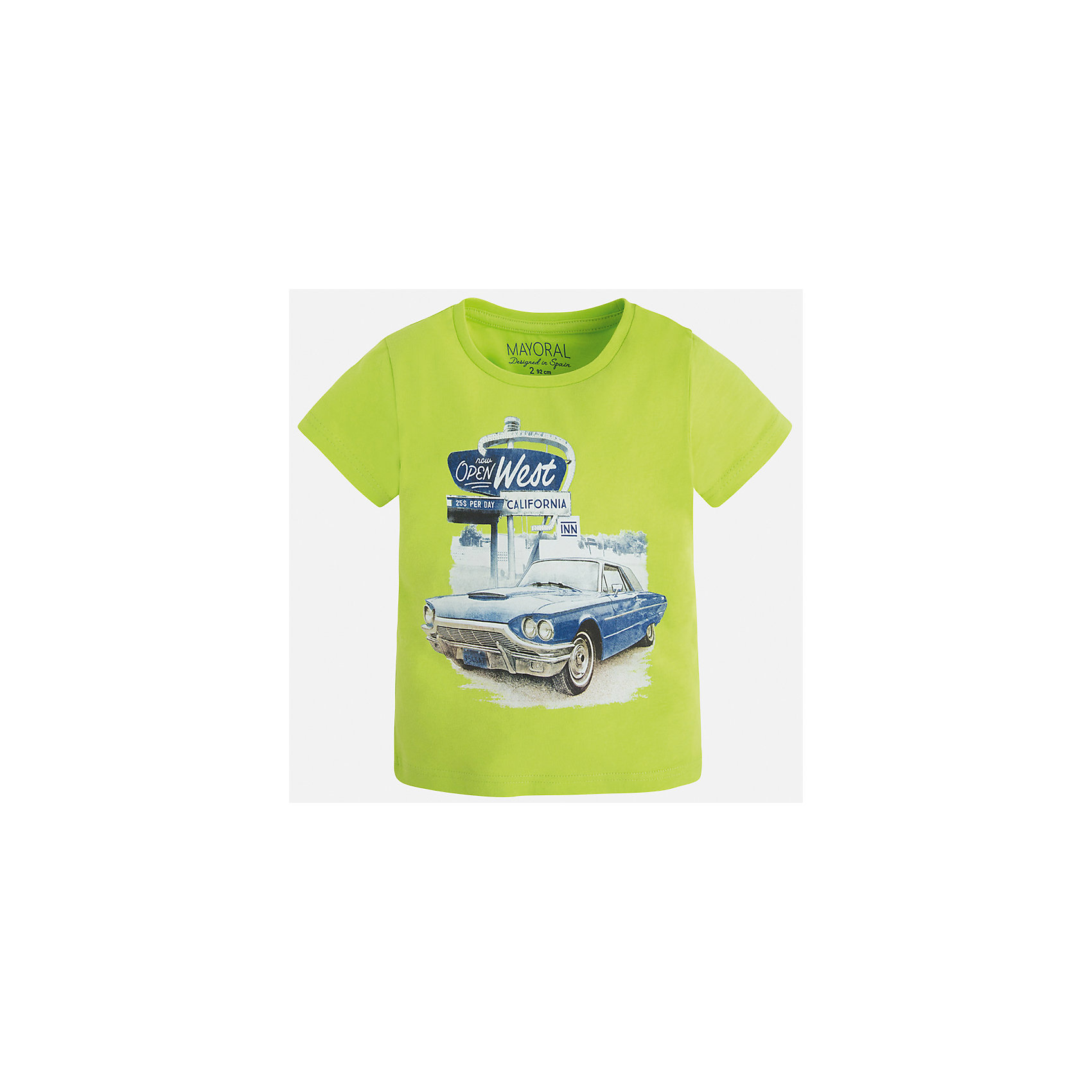 Футболка для мальчика MayoralФутболки, поло и топы<br>Характеристики товара:<br><br>• цвет: зеленый<br>• состав: 100% хлопок<br>• круглый горловой вырез<br>• принт впереди<br>• короткие рукава<br>• отделка горловины<br>• страна бренда: Испания<br><br>Стильная футболка с принтом поможет разнообразить гардероб мальчика. Она отлично сочетается с брюками, шортами, джинсами и т.д. Универсальный крой и цвет позволяет подобрать к вещи низ разных расцветок. Практичное и стильное изделие! В составе материала - только натуральный хлопок, гипоаллергенный, приятный на ощупь, дышащий.<br><br>Одежда, обувь и аксессуары от испанского бренда Mayoral полюбились детям и взрослым по всему миру. Модели этой марки - стильные и удобные. Для их производства используются только безопасные, качественные материалы и фурнитура. Порадуйте ребенка модными и красивыми вещами от Mayoral! <br><br>Футболку для мальчика от испанского бренда Mayoral (Майорал) можно купить в нашем интернет-магазине.<br><br>Ширина мм: 199<br>Глубина мм: 10<br>Высота мм: 161<br>Вес г: 151<br>Цвет: зеленый<br>Возраст от месяцев: 18<br>Возраст до месяцев: 24<br>Пол: Мужской<br>Возраст: Детский<br>Размер: 92,134,128,122,116,110,104,98<br>SKU: 5280092