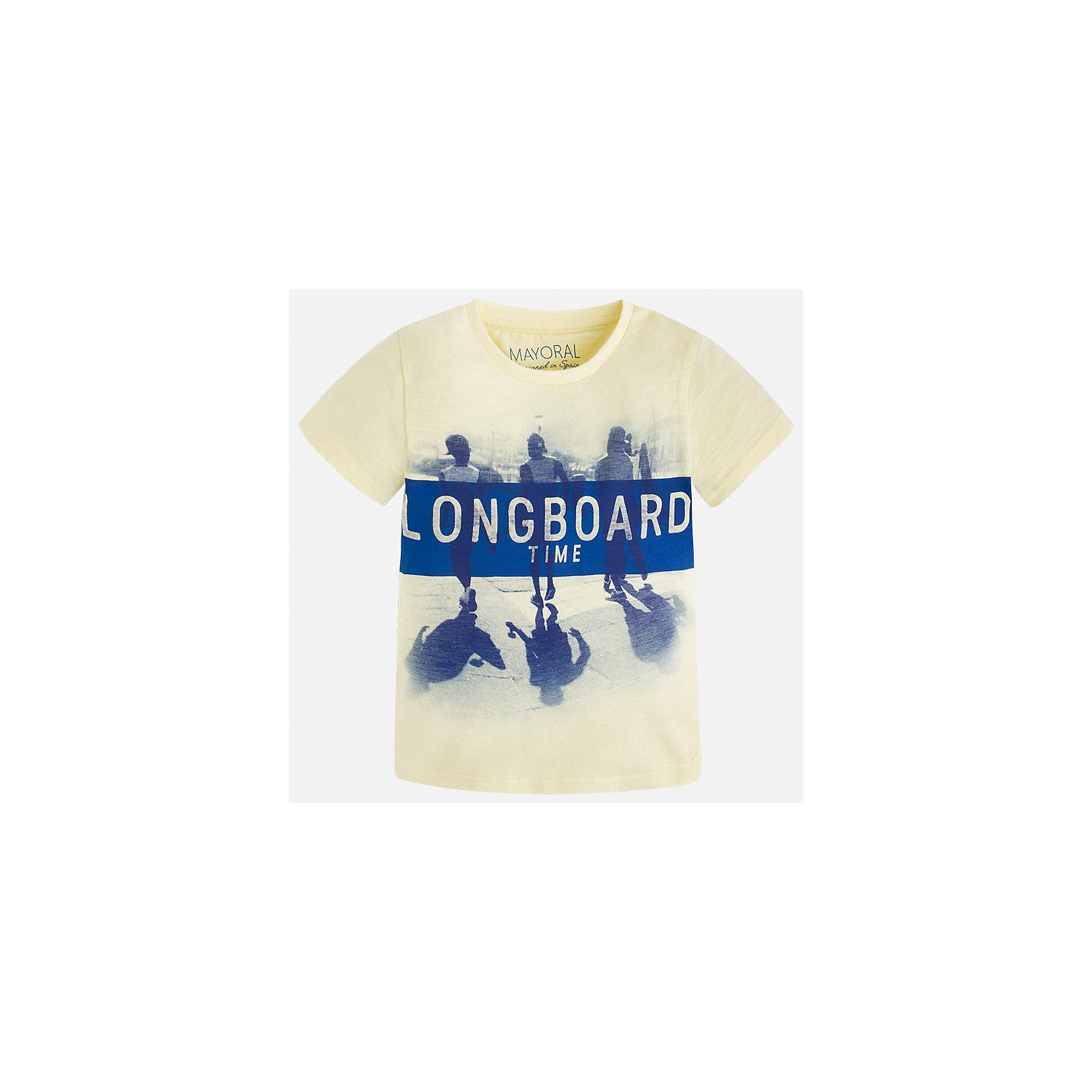 Футболка для мальчика MayoralЛови волну<br>Характеристики товара:<br><br>• цвет: желтый<br>• состав: 100% хлопок<br>• круглый горловой вырез<br>• декорирована принтом<br>• короткие рукава<br>• отделка горловины<br>• страна бренда: Испания<br><br>Удобная модная футболка с принтом поможет разнообразить гардероб мальчика. Она отлично сочетается с брюками, шортами, джинсами. Универсальный крой и цвет позволяет подобрать к вещи низ разных расцветок. Практичное и стильное изделие! Хорошо смотрится и комфортно сидит на детях. В составе материала - только натуральный хлопок, гипоаллергенный, приятный на ощупь, дышащий. <br><br>Одежда, обувь и аксессуары от испанского бренда Mayoral полюбились детям и взрослым по всему миру. Модели этой марки - стильные и удобные. Для их производства используются только безопасные, качественные материалы и фурнитура. Порадуйте ребенка модными и красивыми вещами от Mayoral! <br><br>Футболку для мальчика от испанского бренда Mayoral (Майорал) можно купить в нашем интернет-магазине.<br><br>Ширина мм: 199<br>Глубина мм: 10<br>Высота мм: 161<br>Вес г: 151<br>Цвет: оранжевый<br>Возраст от месяцев: 60<br>Возраст до месяцев: 72<br>Пол: Мужской<br>Возраст: Детский<br>Размер: 116,134,128,122<br>SKU: 5280142