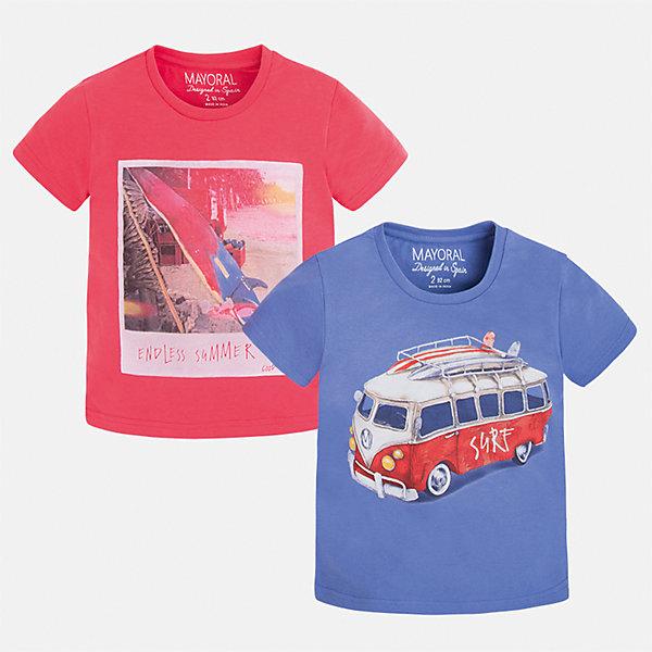 Футболка (2 шт.) для мальчика MayoralФутболки, поло и топы<br>Характеристики товара:<br><br>• цвет: красный/синий<br>• состав: 100% хлопок<br>• комплектация: 2 шт<br>• декорированы рисунком<br>• короткие рукава<br>• отделка горловины<br>• страна бренда: Испания<br><br>Модная удобная футболка с принтом поможет разнообразить гардероб мальчика. Она отлично сочетается с брюками, шортами, джинсами. Универсальный крой и цвет позволяет подобрать к вещи низ разных расцветок. Практичное и стильное изделие! Хорошо смотрится и комфортно сидит на детях. В составе материала - только натуральный хлопок, гипоаллергенный, приятный на ощупь, дышащий. <br><br>Одежда, обувь и аксессуары от испанского бренда Mayoral полюбились детям и взрослым по всему миру. Модели этой марки - стильные и удобные. Для их производства используются только безопасные, качественные материалы и фурнитура. Порадуйте ребенка модными и красивыми вещами от Mayoral! <br><br>Футболку (2 шт.) для мальчика от испанского бренда Mayoral (Майорал) можно купить в нашем интернет-магазине.<br><br>Ширина мм: 230<br>Глубина мм: 40<br>Высота мм: 220<br>Вес г: 250<br>Цвет: красный<br>Возраст от месяцев: 96<br>Возраст до месяцев: 108<br>Пол: Мужской<br>Возраст: Детский<br>Размер: 134,92,122,104,110,98,116,128<br>SKU: 5280147