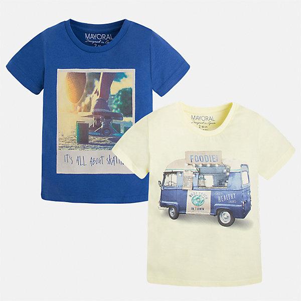 Футболка с длинным рукавом для мальчика MayoralФутболки, поло и топы<br>Характеристики товара:<br><br>• цвет: желтый/синий<br>• состав: 100% хлопок<br>• комплектация: 2 шт<br>• декорированы рисунком<br>• короткие рукава<br>• отделка горловины<br>• страна бренда: Испания<br><br>Модная удобная футболка с принтом поможет разнообразить гардероб мальчика. Она отлично сочетается с брюками, шортами, джинсами. Универсальный крой и цвет позволяет подобрать к вещи низ разных расцветок. Практичное и стильное изделие! Хорошо смотрится и комфортно сидит на детях. В составе материала - только натуральный хлопок, гипоаллергенный, приятный на ощупь, дышащий. <br><br>Одежда, обувь и аксессуары от испанского бренда Mayoral полюбились детям и взрослым по всему миру. Модели этой марки - стильные и удобные. Для их производства используются только безопасные, качественные материалы и фурнитура. Порадуйте ребенка модными и красивыми вещами от Mayoral! <br><br>Футболку (2 шт.) для мальчика от испанского бренда Mayoral (Майорал) можно купить в нашем интернет-магазине.<br>Ширина мм: 230; Глубина мм: 40; Высота мм: 220; Вес г: 250; Цвет: белый; Возраст от месяцев: 84; Возраст до месяцев: 96; Пол: Мужской; Возраст: Детский; Размер: 128,134,122,92,98,104,110,116; SKU: 5280156;