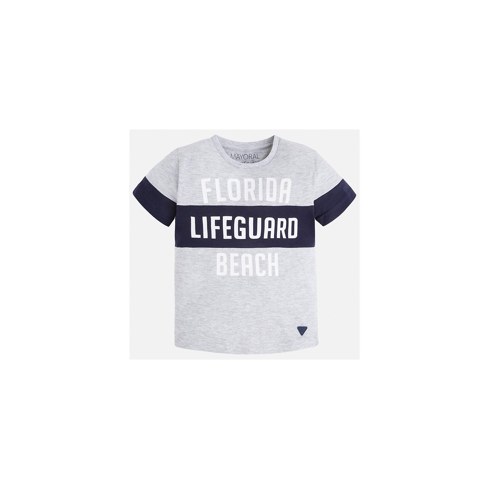 Футболка для мальчика MayoralХарактеристики товара:<br><br>• цвет: серый<br>• состав: 70% хлопок, 25% полиэстер, 5% вискоза<br>• круглый горловой вырез<br>• декорирована принтом<br>• короткие рукава<br>• отделка горловины<br>• страна бренда: Испания<br><br>Стильная удобная футболка с принтом поможет разнообразить гардероб мальчика. Она отлично сочетается с брюками, шортами, джинсами. Универсальный крой и цвет позволяет подобрать к вещи низ разных расцветок. Практичное и стильное изделие! Хорошо смотрится и комфортно сидит на детях. В составе материала - натуральный хлопок, гипоаллергенный, приятный на ощупь, дышащий. <br><br>Одежда, обувь и аксессуары от испанского бренда Mayoral полюбились детям и взрослым по всему миру. Модели этой марки - стильные и удобные. Для их производства используются только безопасные, качественные материалы и фурнитура. Порадуйте ребенка модными и красивыми вещами от Mayoral! <br><br>Футболку для мальчика от испанского бренда Mayoral (Майорал) можно купить в нашем интернет-магазине.<br><br>Ширина мм: 199<br>Глубина мм: 10<br>Высота мм: 161<br>Вес г: 151<br>Цвет: белый<br>Возраст от месяцев: 72<br>Возраст до месяцев: 84<br>Пол: Мужской<br>Возраст: Детский<br>Размер: 122,116,110,98,134,92,128,104<br>SKU: 5280183