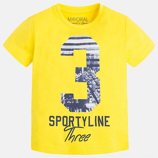 Футболка для мальчика MayoralФутболки, поло и топы<br>Характеристики товара:<br><br>• цвет: желтый<br>• состав: 100% хлопок<br>• круглый горловой вырез<br>• декорирована принтом<br>• короткие рукава<br>• отделка горловины<br>• страна бренда: Испания<br><br>Удобная модная футболка с принтом поможет разнообразить гардероб мальчика. Она отлично сочетается с брюками, шортами, джинсами. Универсальный крой и цвет позволяет подобрать к вещи низ разных расцветок. Практичное и стильное изделие! Хорошо смотрится и комфортно сидит на детях. В составе материала - только натуральный хлопок, гипоаллергенный, приятный на ощупь, дышащий. <br><br>Одежда, обувь и аксессуары от испанского бренда Mayoral полюбились детям и взрослым по всему миру. Модели этой марки - стильные и удобные. Для их производства используются только безопасные, качественные материалы и фурнитура. Порадуйте ребенка модными и красивыми вещами от Mayoral! <br><br>Футболку для мальчика от испанского бренда Mayoral (Майорал) можно купить в нашем интернет-магазине.<br>Ширина мм: 199; Глубина мм: 10; Высота мм: 161; Вес г: 151; Цвет: желтый; Возраст от месяцев: 96; Возраст до месяцев: 108; Пол: Мужской; Возраст: Детский; Размер: 134,92,98,104,110,116,122,128; SKU: 5280192;