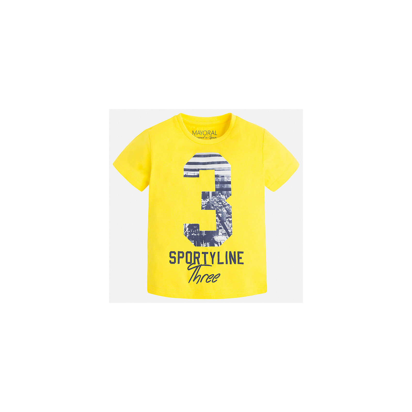 Футболка для мальчика MayoralФутболки, поло и топы<br>Характеристики товара:<br><br>• цвет: желтый<br>• состав: 100% хлопок<br>• круглый горловой вырез<br>• декорирована принтом<br>• короткие рукава<br>• отделка горловины<br>• страна бренда: Испания<br><br>Удобная модная футболка с принтом поможет разнообразить гардероб мальчика. Она отлично сочетается с брюками, шортами, джинсами. Универсальный крой и цвет позволяет подобрать к вещи низ разных расцветок. Практичное и стильное изделие! Хорошо смотрится и комфортно сидит на детях. В составе материала - только натуральный хлопок, гипоаллергенный, приятный на ощупь, дышащий. <br><br>Одежда, обувь и аксессуары от испанского бренда Mayoral полюбились детям и взрослым по всему миру. Модели этой марки - стильные и удобные. Для их производства используются только безопасные, качественные материалы и фурнитура. Порадуйте ребенка модными и красивыми вещами от Mayoral! <br><br>Футболку для мальчика от испанского бренда Mayoral (Майорал) можно купить в нашем интернет-магазине.<br><br>Ширина мм: 199<br>Глубина мм: 10<br>Высота мм: 161<br>Вес г: 151<br>Цвет: желтый<br>Возраст от месяцев: 18<br>Возраст до месяцев: 24<br>Пол: Мужской<br>Возраст: Детский<br>Размер: 92,134,128,122,116,110,104,98<br>SKU: 5280192