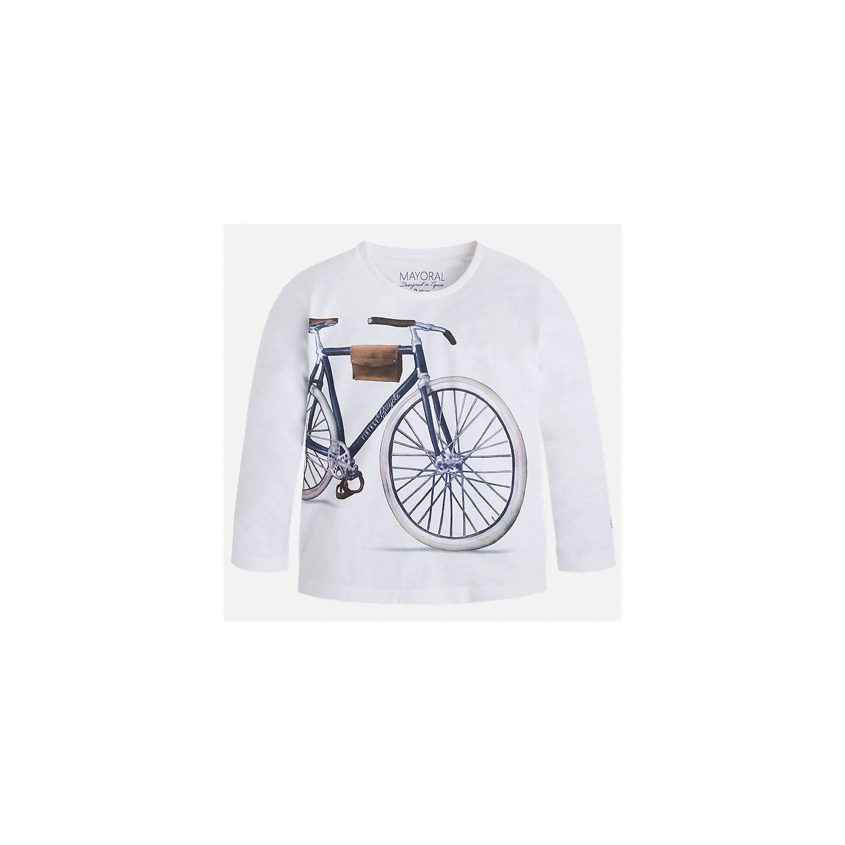 Футболка с длинным рукавом для мальчика MayoralХарактеристики товара:<br><br>• цвет: белый<br>• состав: 100% хлопок<br>• круглый горловой вырез<br>• декорирована принтом<br>• длинные рукава<br>• отделка горловины<br>• страна бренда: Испания<br><br>Удобная модная футболка с принтом поможет разнообразить гардероб мальчика. Она отлично сочетается с брюками, шортами, джинсами. Универсальный крой и цвет позволяет подобрать к вещи низ разных расцветок. Практичное и стильное изделие! Хорошо смотрится и комфортно сидит на детях. В составе материала - только натуральный хлопок, гипоаллергенный, приятный на ощупь, дышащий. <br><br>Одежда, обувь и аксессуары от испанского бренда Mayoral полюбились детям и взрослым по всему миру. Модели этой марки - стильные и удобные. Для их производства используются только безопасные, качественные материалы и фурнитура. Порадуйте ребенка модными и красивыми вещами от Mayoral! <br><br>Футболку с длинным рукавом для мальчика от испанского бренда Mayoral (Майорал) можно купить в нашем интернет-магазине.<br><br>Ширина мм: 230<br>Глубина мм: 40<br>Высота мм: 220<br>Вес г: 250<br>Цвет: белый<br>Возраст от месяцев: 24<br>Возраст до месяцев: 36<br>Пол: Мужской<br>Возраст: Детский<br>Размер: 98,92,122,104,110,134,128,116<br>SKU: 5280210
