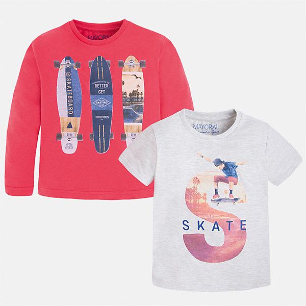 Комплект: футболка и футболка с длинным рукавом для мальчика MayoralКомплекты<br>Характеристики товара:<br><br>• цвет: красный/белый<br>• состав: лонгслив - 100% хлопок; футболка - 60% хлопок, 40% полиэстер<br>• комплектация: футболка и футболка с длинным рукавом <br>• круглый горловой вырез<br>• декорированы принтом<br>• отделка горловины<br>• страна бренда: Испания<br><br>Удобная модная футболка с принтом поможет разнообразить гардероб мальчика. Она отлично сочетается с брюками, шортами, джинсами. Универсальный крой и цвет позволяет подобрать к вещи низ разных расцветок. Практичное и стильное изделие! Хорошо смотрится и комфортно сидит на детях. В составе материала - только натуральный хлопок, гипоаллергенный, приятный на ощупь, дышащий. В комплекте - сразу две стильные вещи!<br><br>Одежда, обувь и аксессуары от испанского бренда Mayoral полюбились детям и взрослым по всему миру. Модели этой марки - стильные и удобные. Для их производства используются только безопасные, качественные материалы и фурнитура. Порадуйте ребенка модными и красивыми вещами от Mayoral! <br><br>Комплект: футболка и футболка с длинным рукавом для мальчика от испанского бренда Mayoral (Майорал) можно купить в нашем интернет-магазине.<br><br>Ширина мм: 199<br>Глубина мм: 10<br>Высота мм: 161<br>Вес г: 151<br>Цвет: красный<br>Возраст от месяцев: 60<br>Возраст до месяцев: 72<br>Пол: Мужской<br>Возраст: Детский<br>Размер: 116,134,92,98,104,110,122,128<br>SKU: 5280255