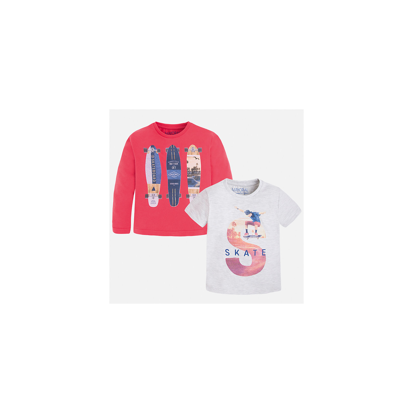 Комплект: футболка и футболка с длинным рукавом для мальчика MayoralХарактеристики товара:<br><br>• цвет: красный/белый<br>• состав: лонгслив - 100% хлопок; футболка - 60% хлопок, 40% полиэстер<br>• комплектация: футболка и футболка с длинным рукавом <br>• круглый горловой вырез<br>• декорированы принтом<br>• отделка горловины<br>• страна бренда: Испания<br><br>Удобная модная футболка с принтом поможет разнообразить гардероб мальчика. Она отлично сочетается с брюками, шортами, джинсами. Универсальный крой и цвет позволяет подобрать к вещи низ разных расцветок. Практичное и стильное изделие! Хорошо смотрится и комфортно сидит на детях. В составе материала - только натуральный хлопок, гипоаллергенный, приятный на ощупь, дышащий. В комплекте - сразу две стильные вещи!<br><br>Одежда, обувь и аксессуары от испанского бренда Mayoral полюбились детям и взрослым по всему миру. Модели этой марки - стильные и удобные. Для их производства используются только безопасные, качественные материалы и фурнитура. Порадуйте ребенка модными и красивыми вещами от Mayoral! <br><br>Комплект: футболка и футболка с длинным рукавом для мальчика от испанского бренда Mayoral (Майорал) можно купить в нашем интернет-магазине.<br><br>Ширина мм: 199<br>Глубина мм: 10<br>Высота мм: 161<br>Вес г: 151<br>Цвет: красный<br>Возраст от месяцев: 60<br>Возраст до месяцев: 72<br>Пол: Мужской<br>Возраст: Детский<br>Размер: 116,134,128,122,110,104,98,92<br>SKU: 5280255