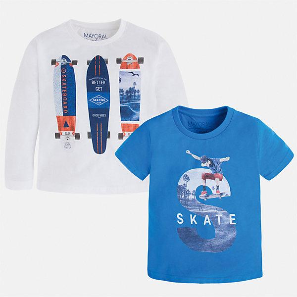 Комплект: футболка и футболка с длинным рукавом для мальчика MayoralКомплекты<br>Характеристики товара:<br><br>• цвет: белый/голубой<br>• состав: 100% хлопок<br>• комплектация: футболка и футболка с длинным рукавом <br>• круглый горловой вырез<br>• декорированы принтом<br>• отделка горловины<br>• страна бренда: Испания<br><br>Удобная модная футболка с принтом поможет разнообразить гардероб мальчика. Она отлично сочетается с брюками, шортами, джинсами. Универсальный крой и цвет позволяет подобрать к вещи низ разных расцветок. Практичное и стильное изделие! Хорошо смотрится и комфортно сидит на детях. В составе материала - только натуральный хлопок, гипоаллергенный, приятный на ощупь, дышащий. В комплекте - сразу две стильные вещи!<br><br>Одежда, обувь и аксессуары от испанского бренда Mayoral полюбились детям и взрослым по всему миру. Модели этой марки - стильные и удобные. Для их производства используются только безопасные, качественные материалы и фурнитура. Порадуйте ребенка модными и красивыми вещами от Mayoral! <br><br>Комплект: футболка и футболка с длинным рукавом для мальчика от испанского бренда Mayoral (Майорал) можно купить в нашем интернет-магазине.<br><br>Ширина мм: 199<br>Глубина мм: 10<br>Высота мм: 161<br>Вес г: 151<br>Цвет: белый<br>Возраст от месяцев: 36<br>Возраст до месяцев: 48<br>Пол: Мужской<br>Возраст: Детский<br>Размер: 104,134,92,98,110,116,122,128<br>SKU: 5280264