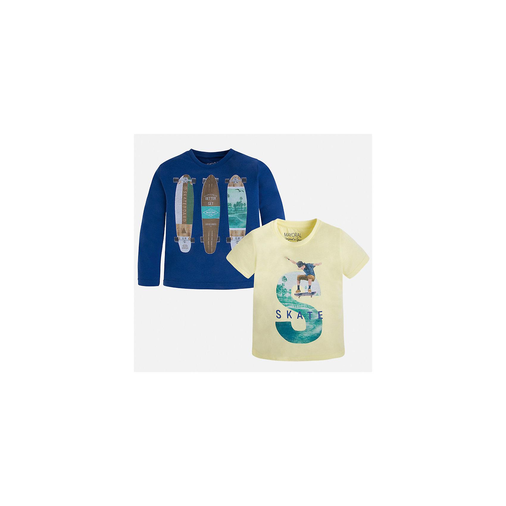 Комплект: футболка и футболка с длинным рукавом для мальчика MayoralКомплекты<br>Характеристики товара:<br><br>• цвет: желтый/синий<br>• состав: лонгслив - 100% хлопок; футболка - 60% хлопок, 40% полиэстер<br>• комплектация: футболка и футболка с длинным рукавом <br>• круглый горловой вырез<br>• декорированы принтом<br>• отделка горловины<br>• страна бренда: Испания<br><br>Удобная модная футболка с принтом поможет разнообразить гардероб мальчика. Она отлично сочетается с брюками, шортами, джинсами. Универсальный крой и цвет позволяет подобрать к вещи низ разных расцветок. Практичное и стильное изделие! Хорошо смотрится и комфортно сидит на детях. В составе материала - только натуральный хлопок, гипоаллергенный, приятный на ощупь, дышащий. В комплекте - сразу две стильные вещи!<br><br>Одежда, обувь и аксессуары от испанского бренда Mayoral полюбились детям и взрослым по всему миру. Модели этой марки - стильные и удобные. Для их производства используются только безопасные, качественные материалы и фурнитура. Порадуйте ребенка модными и красивыми вещами от Mayoral! <br><br>Комплект: футболка и футболка с длинным рукавом для мальчика от испанского бренда Mayoral (Майорал) можно купить в нашем интернет-магазине.<br><br>Ширина мм: 199<br>Глубина мм: 10<br>Высота мм: 161<br>Вес г: 151<br>Цвет: белый<br>Возраст от месяцев: 72<br>Возраст до месяцев: 84<br>Пол: Мужской<br>Возраст: Детский<br>Размер: 122,134,128,116,110,104,98,92<br>SKU: 5280273