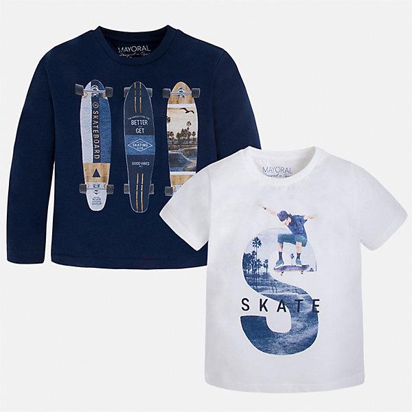 Комплект: футболка и футболка с длинным рукавом для мальчика MayoralКомплекты<br>Характеристики товара:<br><br>• цвет: синий/белый<br>• состав: лонгслив - 100% хлопок; футболка - 60% хлопок, 40% полиэстер<br>• комплектация: футболка и футболка с длинным рукавом <br>• круглый горловой вырез<br>• декорированы принтом<br>• отделка горловины<br>• страна бренда: Испания<br><br>Удобная модная футболка с принтом поможет разнообразить гардероб мальчика. Она отлично сочетается с брюками, шортами, джинсами. Универсальный крой и цвет позволяет подобрать к вещи низ разных расцветок. Практичное и стильное изделие! Хорошо смотрится и комфортно сидит на детях. В составе материала - только натуральный хлопок, гипоаллергенный, приятный на ощупь, дышащий. В комплекте - сразу две стильные вещи!<br><br>Одежда, обувь и аксессуары от испанского бренда Mayoral полюбились детям и взрослым по всему миру. Модели этой марки - стильные и удобные. Для их производства используются только безопасные, качественные материалы и фурнитура. Порадуйте ребенка модными и красивыми вещами от Mayoral! <br><br>Комплект: футболка и футболка с длинным рукавом для мальчика от испанского бренда Mayoral (Майорал) можно купить в нашем интернет-магазине.<br><br>Ширина мм: 199<br>Глубина мм: 10<br>Высота мм: 161<br>Вес г: 151<br>Цвет: синий<br>Возраст от месяцев: 18<br>Возраст до месяцев: 24<br>Пол: Мужской<br>Возраст: Детский<br>Размер: 92,134,98,104,110,116,122,128<br>SKU: 5280282