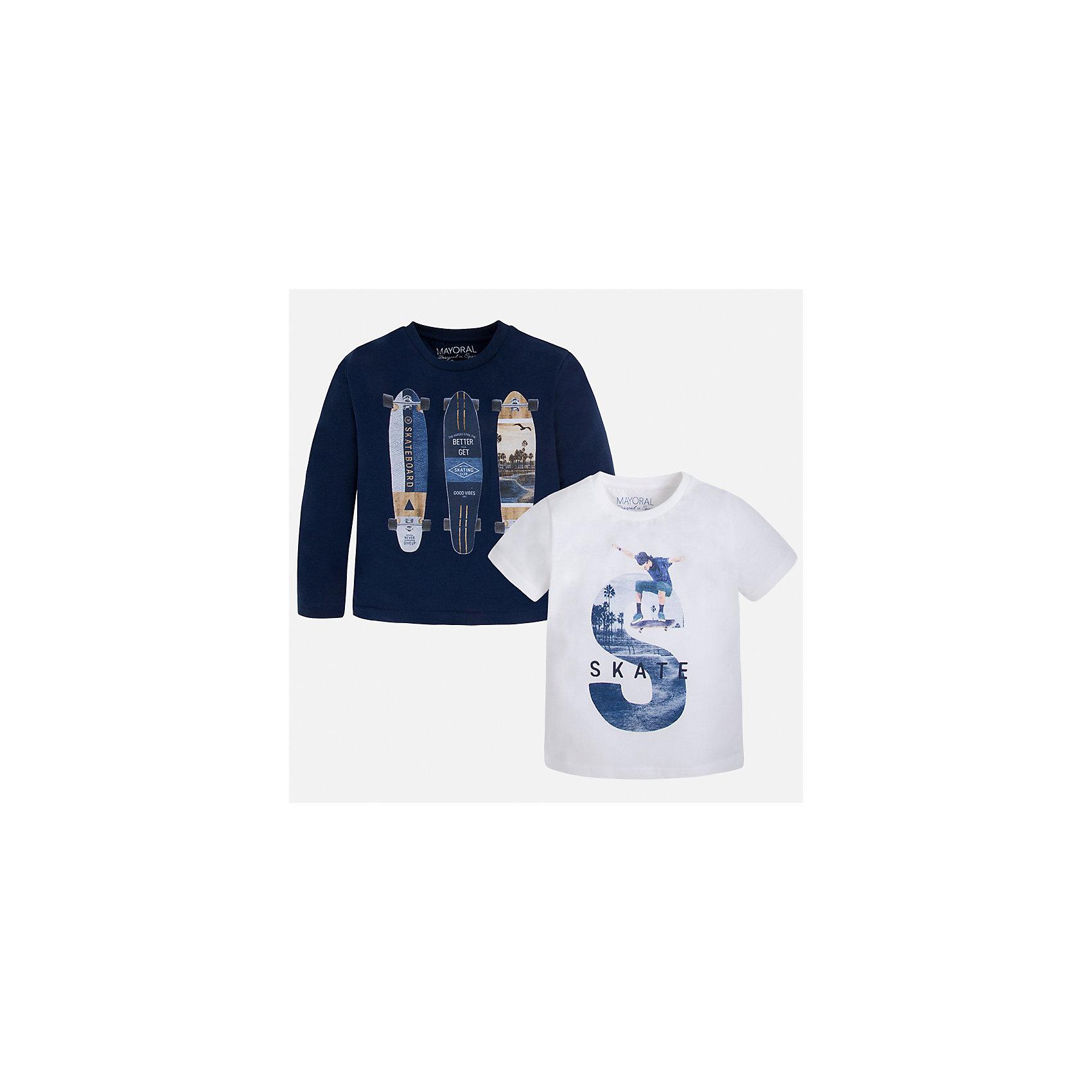 Комплект: футболка и футболка с длинным рукавом для мальчика MayoralКомплекты<br>Характеристики товара:<br><br>• цвет: синий/белый<br>• состав: лонгслив - 100% хлопок; футболка - 60% хлопок, 40% полиэстер<br>• комплектация: футболка и футболка с длинным рукавом <br>• круглый горловой вырез<br>• декорированы принтом<br>• отделка горловины<br>• страна бренда: Испания<br><br>Удобная модная футболка с принтом поможет разнообразить гардероб мальчика. Она отлично сочетается с брюками, шортами, джинсами. Универсальный крой и цвет позволяет подобрать к вещи низ разных расцветок. Практичное и стильное изделие! Хорошо смотрится и комфортно сидит на детях. В составе материала - только натуральный хлопок, гипоаллергенный, приятный на ощупь, дышащий. В комплекте - сразу две стильные вещи!<br><br>Одежда, обувь и аксессуары от испанского бренда Mayoral полюбились детям и взрослым по всему миру. Модели этой марки - стильные и удобные. Для их производства используются только безопасные, качественные материалы и фурнитура. Порадуйте ребенка модными и красивыми вещами от Mayoral! <br><br>Комплект: футболка и футболка с длинным рукавом для мальчика от испанского бренда Mayoral (Майорал) можно купить в нашем интернет-магазине.<br><br>Ширина мм: 199<br>Глубина мм: 10<br>Высота мм: 161<br>Вес г: 151<br>Цвет: синий<br>Возраст от месяцев: 84<br>Возраст до месяцев: 96<br>Пол: Мужской<br>Возраст: Детский<br>Размер: 128,134,122,116,110,104,98,92<br>SKU: 5280282