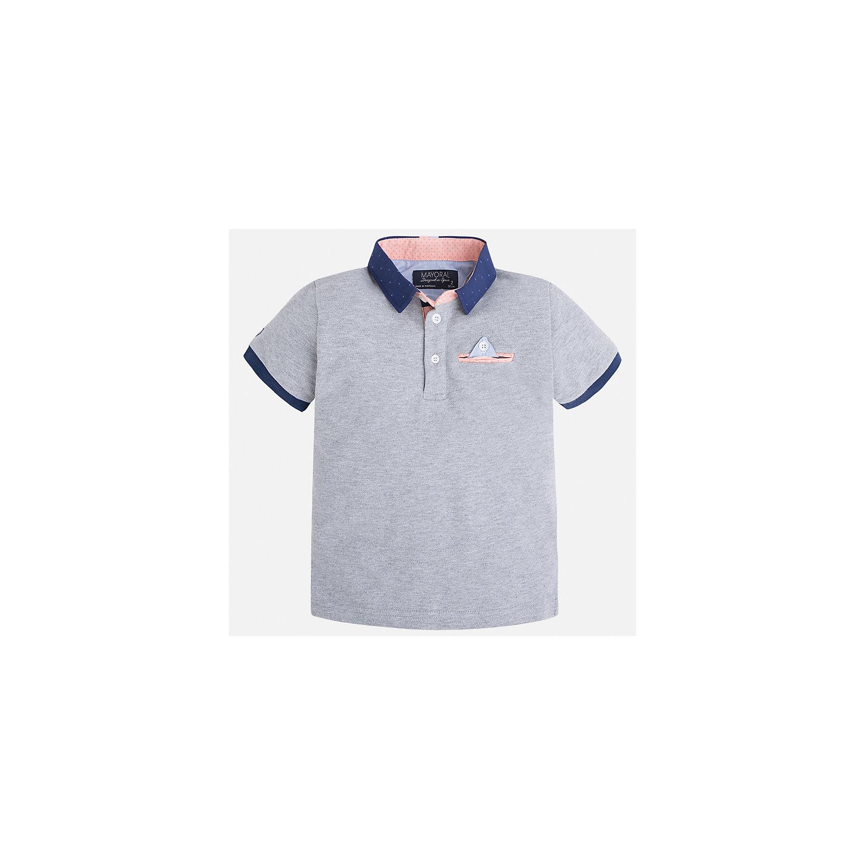 Рубашка-поло для мальчика MayoralХарактеристики товара:<br><br>• цвет: серый<br>• состав: 100% хлопок<br>• отложной воротник<br>• короткие рукава<br>• застежка: пуговицы<br>• карман на груди<br>• страна бренда: Испания<br><br>Модная рубашка-поло для мальчика может стать базовой вещью в гардеробе ребенка. Она отлично сочетается с брюками, шортами, джинсами и т.д. Универсальный крой и цвет позволяет подобрать к вещи низ разных расцветок. Практичное и стильное изделие! В составе материала - только натуральный хлопок, гипоаллергенный, приятный на ощупь, дышащий.<br><br>Одежда, обувь и аксессуары от испанского бренда Mayoral полюбились детям и взрослым по всему миру. Модели этой марки - стильные и удобные. Для их производства используются только безопасные, качественные материалы и фурнитура. Порадуйте ребенка модными и красивыми вещами от Mayoral! <br><br>Рубашку-поло для мальчика от испанского бренда Mayoral (Майорал) можно купить в нашем интернет-магазине.<br><br>Ширина мм: 230<br>Глубина мм: 40<br>Высота мм: 220<br>Вес г: 250<br>Цвет: серый<br>Возраст от месяцев: 84<br>Возраст до месяцев: 96<br>Пол: Мужской<br>Возраст: Детский<br>Размер: 128,116,92,98,104,110,134,122<br>SKU: 5280327