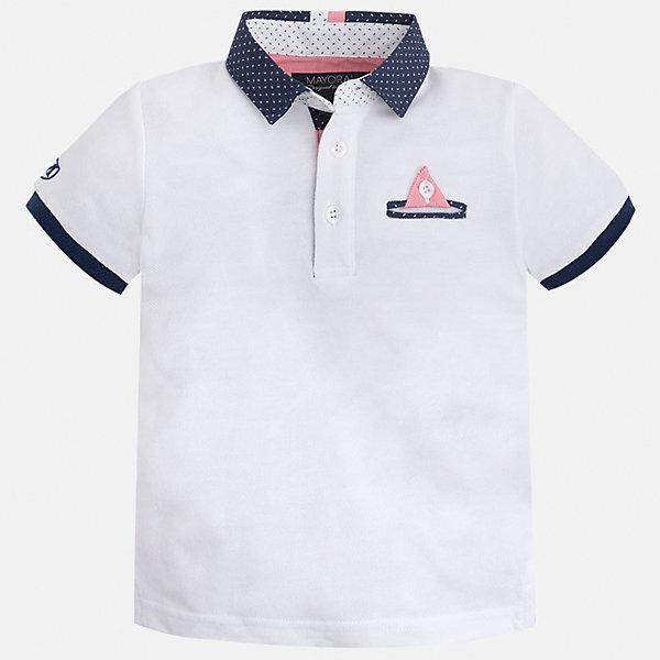 Футболка-поло для мальчика MayoralФутболки, поло и топы<br>Характеристики товара:<br><br>• цвет: белый<br>• состав: 100% хлопок<br>• отложной воротник<br>• короткие рукава<br>• застежка: пуговицы<br>• карман на груди<br>• страна бренда: Испания<br><br>Модная футболка-поло для мальчика может стать базовой вещью в гардеробе ребенка. Она отлично сочетается с брюками, шортами, джинсами и т.д. Универсальный крой и цвет позволяет подобрать к вещи низ разных расцветок. Практичное и стильное изделие! В составе материала - только натуральный хлопок, гипоаллергенный, приятный на ощупь, дышащий.<br><br>Одежда, обувь и аксессуары от испанского бренда Mayoral полюбились детям и взрослым по всему миру. Модели этой марки - стильные и удобные. Для их производства используются только безопасные, качественные материалы и фурнитура. Порадуйте ребенка модными и красивыми вещами от Mayoral! <br><br>Футболку-поло для мальчика от испанского бренда Mayoral (Майорал) можно купить в нашем интернет-магазине.<br>Ширина мм: 230; Глубина мм: 40; Высота мм: 220; Вес г: 250; Цвет: белый; Возраст от месяцев: 18; Возраст до месяцев: 24; Пол: Мужской; Возраст: Детский; Размер: 92,116,134,104,122,98,128,110; SKU: 5280336;