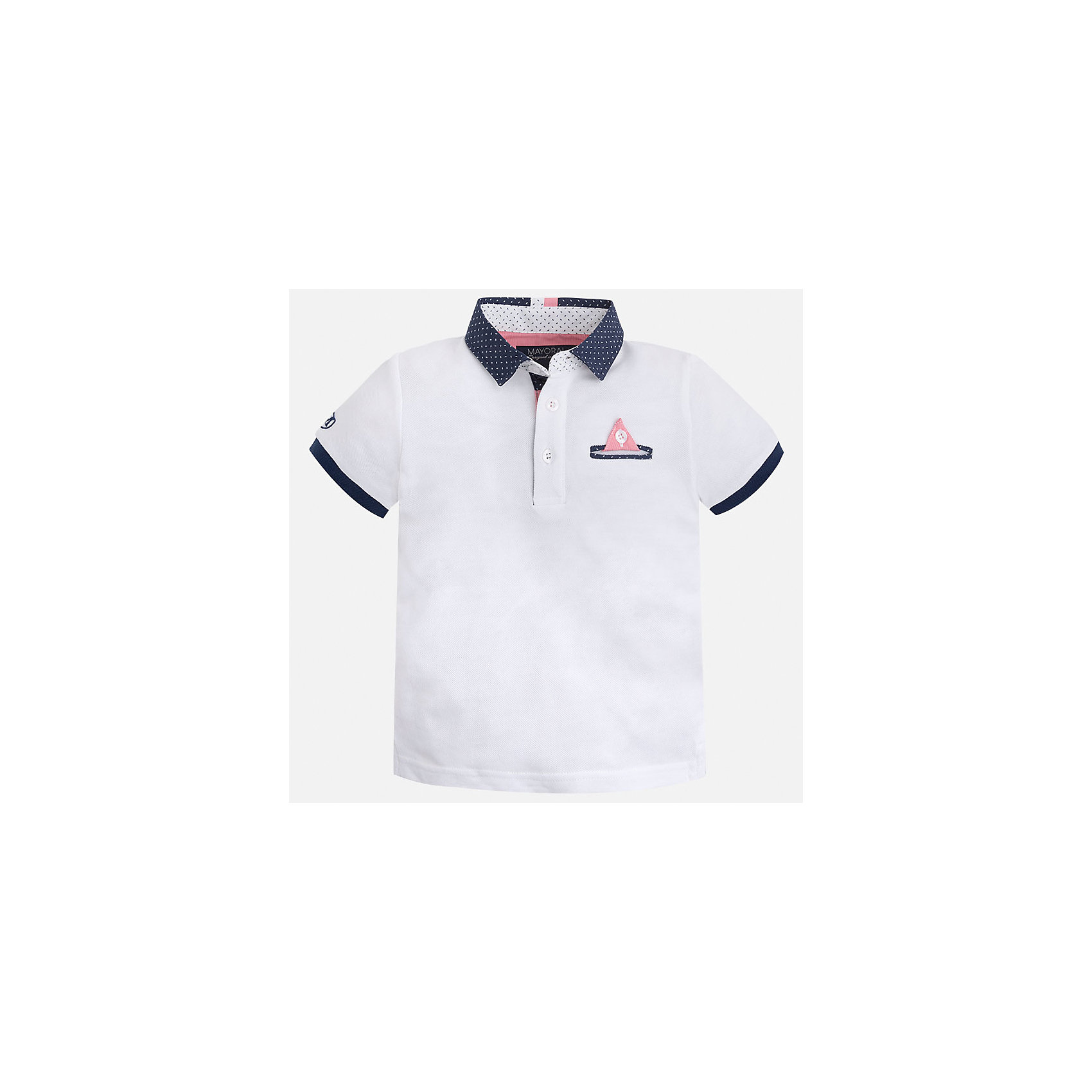 Футболка-поло для мальчика MayoralФутболки, поло и топы<br>Характеристики товара:<br><br>• цвет: белый<br>• состав: 100% хлопок<br>• отложной воротник<br>• короткие рукава<br>• застежка: пуговицы<br>• карман на груди<br>• страна бренда: Испания<br><br>Модная футболка-поло для мальчика может стать базовой вещью в гардеробе ребенка. Она отлично сочетается с брюками, шортами, джинсами и т.д. Универсальный крой и цвет позволяет подобрать к вещи низ разных расцветок. Практичное и стильное изделие! В составе материала - только натуральный хлопок, гипоаллергенный, приятный на ощупь, дышащий.<br><br>Одежда, обувь и аксессуары от испанского бренда Mayoral полюбились детям и взрослым по всему миру. Модели этой марки - стильные и удобные. Для их производства используются только безопасные, качественные материалы и фурнитура. Порадуйте ребенка модными и красивыми вещами от Mayoral! <br><br>Футболку-поло для мальчика от испанского бренда Mayoral (Майорал) можно купить в нашем интернет-магазине.<br><br>Ширина мм: 230<br>Глубина мм: 40<br>Высота мм: 220<br>Вес г: 250<br>Цвет: белый<br>Возраст от месяцев: 60<br>Возраст до месяцев: 72<br>Пол: Мужской<br>Возраст: Детский<br>Размер: 116,110,128,98,122,104,134,92<br>SKU: 5280336