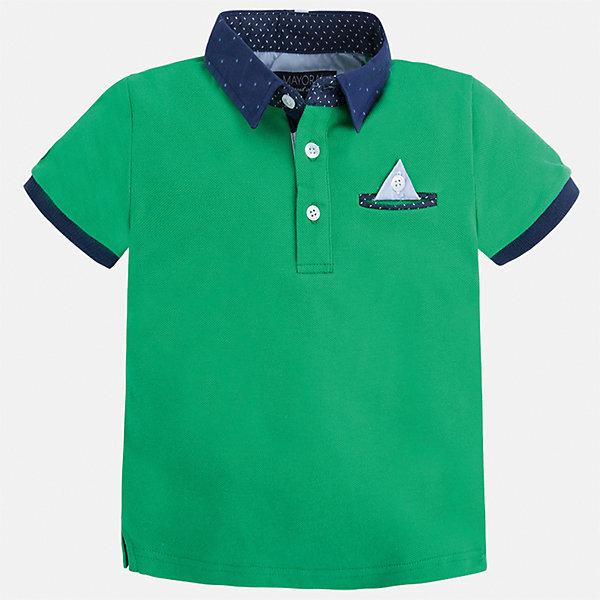 Футболка-поло для мальчика MayoralФутболки, поло и топы<br>Характеристики товара:<br><br>• цвет: зеленый<br>• состав: 100% хлопок<br>• отложной воротник<br>• короткие рукава<br>• застежка: пуговицы<br>• карман на груди<br>• страна бренда: Испания<br><br>Модная футболка-поло для мальчика может стать базовой вещью в гардеробе ребенка. Она отлично сочетается с брюками, шортами, джинсами и т.д. Универсальный крой и цвет позволяет подобрать к вещи низ разных расцветок. Практичное и стильное изделие! В составе материала - только натуральный хлопок, гипоаллергенный, приятный на ощупь, дышащий.<br><br>Одежда, обувь и аксессуары от испанского бренда Mayoral полюбились детям и взрослым по всему миру. Модели этой марки - стильные и удобные. Для их производства используются только безопасные, качественные материалы и фурнитура. Порадуйте ребенка модными и красивыми вещами от Mayoral! <br><br>Футболку-поло для мальчика от испанского бренда Mayoral (Майорал) можно купить в нашем интернет-магазине.<br><br>Ширина мм: 230<br>Глубина мм: 40<br>Высота мм: 220<br>Вес г: 250<br>Цвет: зеленый<br>Возраст от месяцев: 60<br>Возраст до месяцев: 72<br>Пол: Мужской<br>Возраст: Детский<br>Размер: 116,104,128,134,92,98,122,110<br>SKU: 5280345