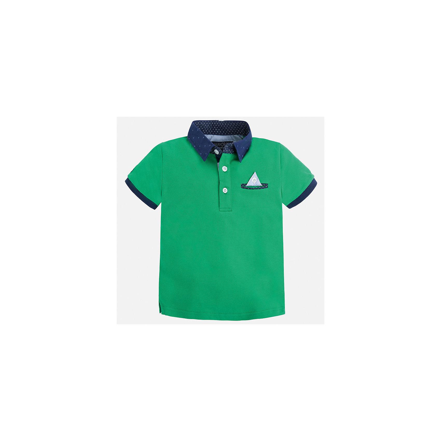 Футболка-поло для мальчика MayoralФутболки, поло и топы<br>Характеристики товара:<br><br>• цвет: зеленый<br>• состав: 100% хлопок<br>• отложной воротник<br>• короткие рукава<br>• застежка: пуговицы<br>• карман на груди<br>• страна бренда: Испания<br><br>Модная футболка-поло для мальчика может стать базовой вещью в гардеробе ребенка. Она отлично сочетается с брюками, шортами, джинсами и т.д. Универсальный крой и цвет позволяет подобрать к вещи низ разных расцветок. Практичное и стильное изделие! В составе материала - только натуральный хлопок, гипоаллергенный, приятный на ощупь, дышащий.<br><br>Одежда, обувь и аксессуары от испанского бренда Mayoral полюбились детям и взрослым по всему миру. Модели этой марки - стильные и удобные. Для их производства используются только безопасные, качественные материалы и фурнитура. Порадуйте ребенка модными и красивыми вещами от Mayoral! <br><br>Футболку-поло для мальчика от испанского бренда Mayoral (Майорал) можно купить в нашем интернет-магазине.<br><br>Ширина мм: 230<br>Глубина мм: 40<br>Высота мм: 220<br>Вес г: 250<br>Цвет: зеленый<br>Возраст от месяцев: 48<br>Возраст до месяцев: 60<br>Пол: Мужской<br>Возраст: Детский<br>Размер: 110,92,134,128,104,122,98,116<br>SKU: 5280345