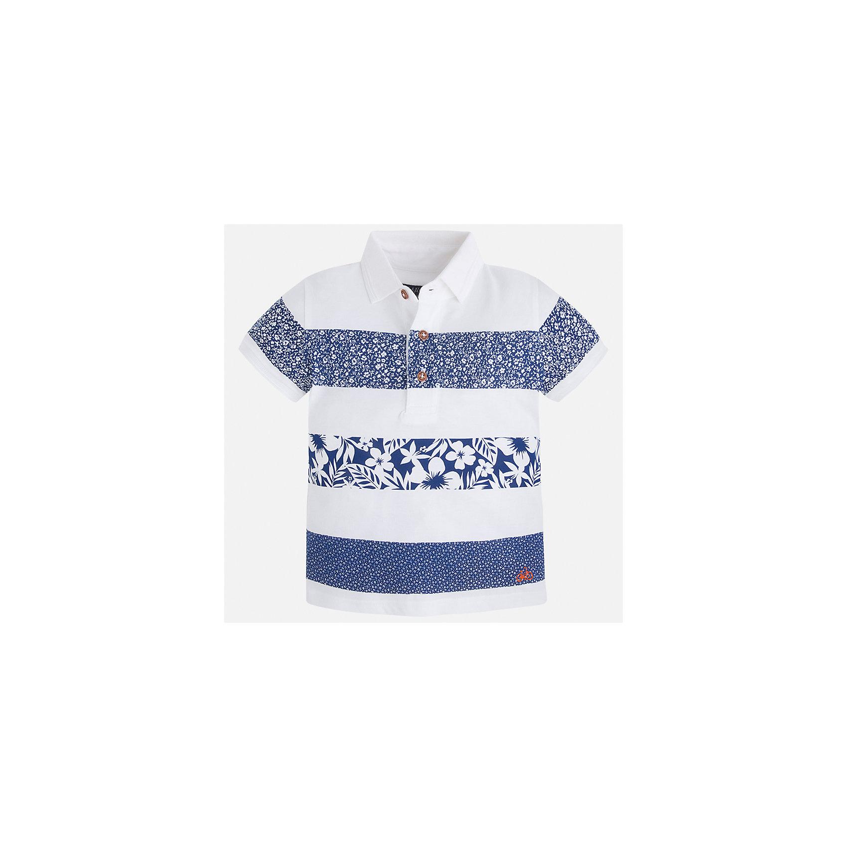Футболка-поло для мальчика MayoralПолоска<br>Характеристики товара:<br><br>• цвет: белый/синий<br>• состав: 100% хлопок<br>• отложной воротник<br>• короткие рукава<br>• застежка: пуговицы<br>• принт<br>• страна бренда: Испания<br><br>Модная футболка-поло для мальчика может стать базовой вещью в гардеробе ребенка. Она отлично сочетается с брюками, шортами, джинсами и т.д. Универсальный крой и цвет позволяет подобрать к вещи низ разных расцветок. Практичное и стильное изделие! В составе материала - только натуральный хлопок, гипоаллергенный, приятный на ощупь, дышащий.<br><br>Одежда, обувь и аксессуары от испанского бренда Mayoral полюбились детям и взрослым по всему миру. Модели этой марки - стильные и удобные. Для их производства используются только безопасные, качественные материалы и фурнитура. Порадуйте ребенка модными и красивыми вещами от Mayoral! <br><br>Футболку-поло для мальчика от испанского бренда Mayoral (Майорал) можно купить в нашем интернет-магазине.<br><br>Ширина мм: 199<br>Глубина мм: 10<br>Высота мм: 161<br>Вес г: 151<br>Цвет: белый<br>Возраст от месяцев: 48<br>Возраст до месяцев: 60<br>Пол: Мужской<br>Возраст: Детский<br>Размер: 110,104,92,98,134,116,122,128<br>SKU: 5280354